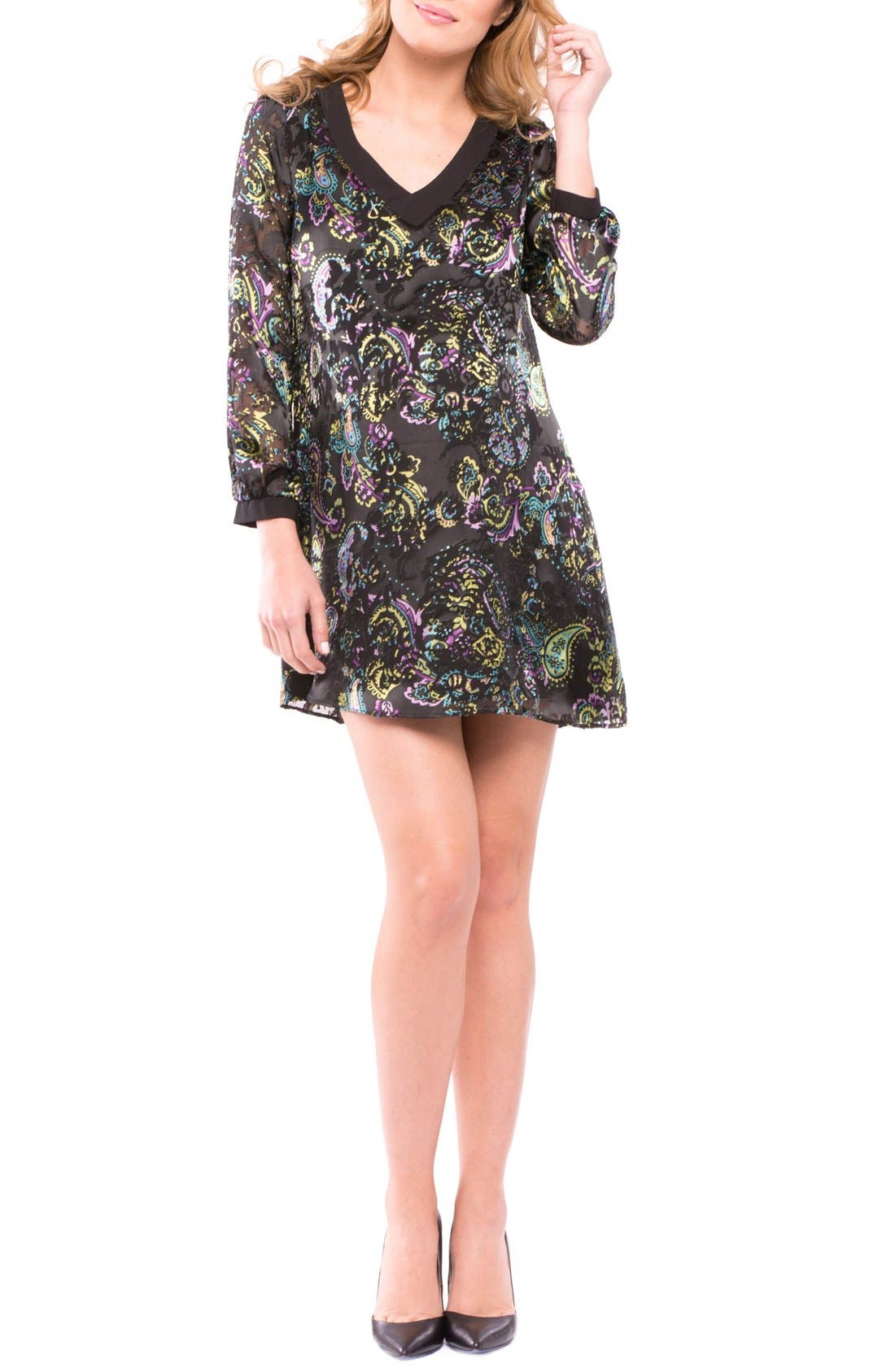 Tamara Maternity Tunic Dress,                         Main,                         color, BLACK BURNOUT PRINT
