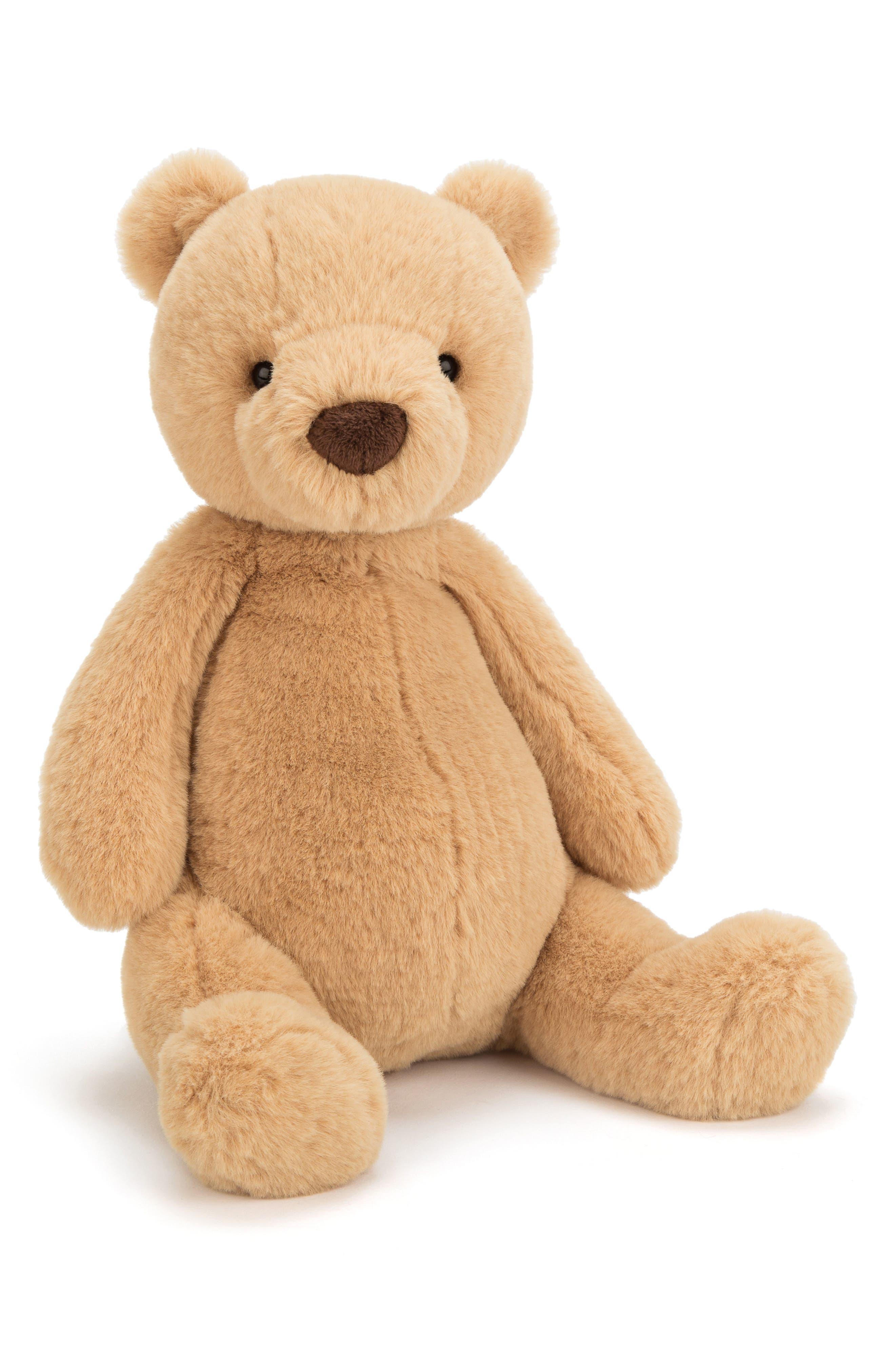 Puffles Bear Stuffed Animal,                             Main thumbnail 1, color,                             BROWN
