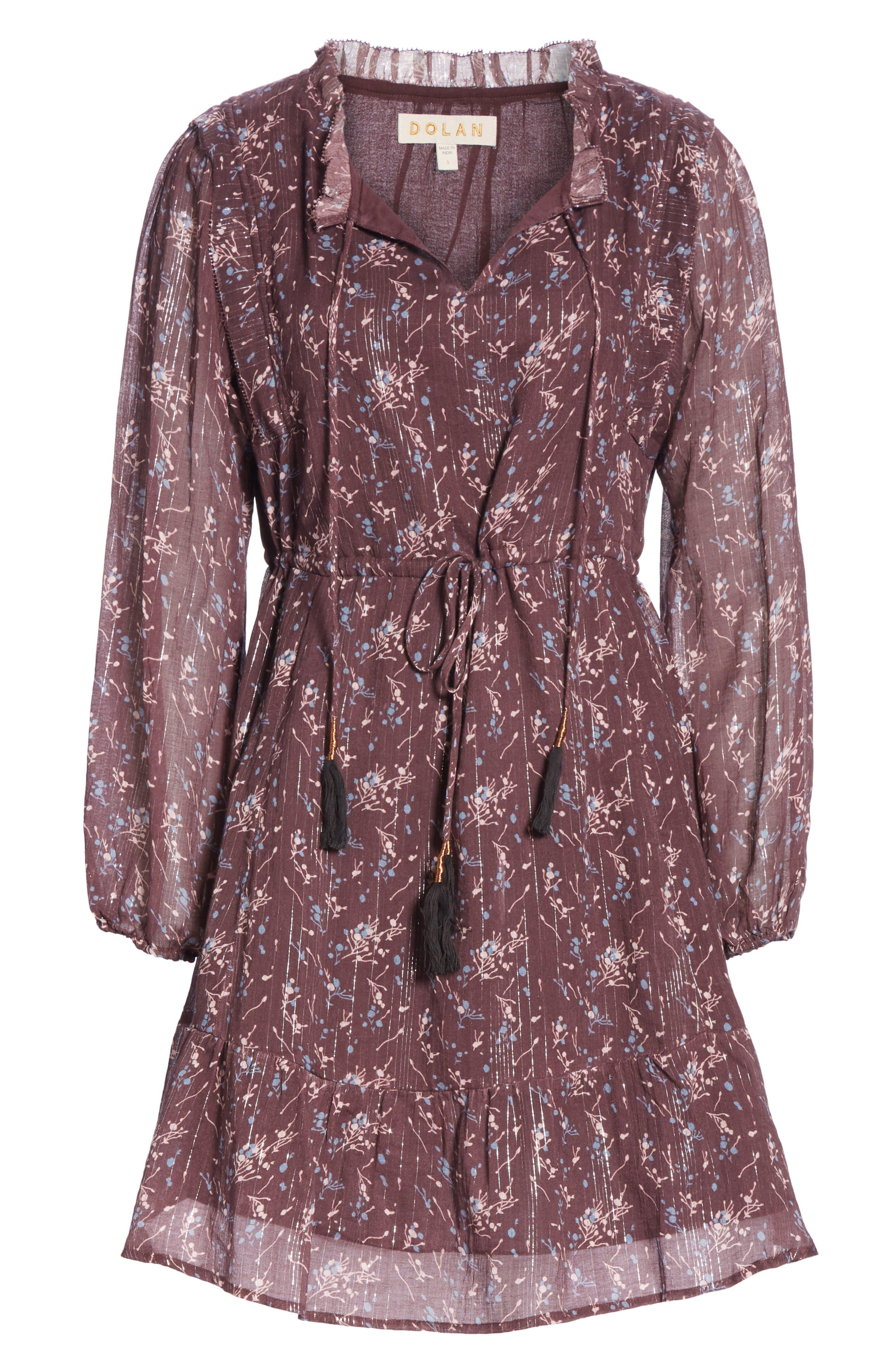 Ruffled Drawstring Waist Dress,                             Alternate thumbnail 8, color,                             BROWN PLUM BLOSSOM