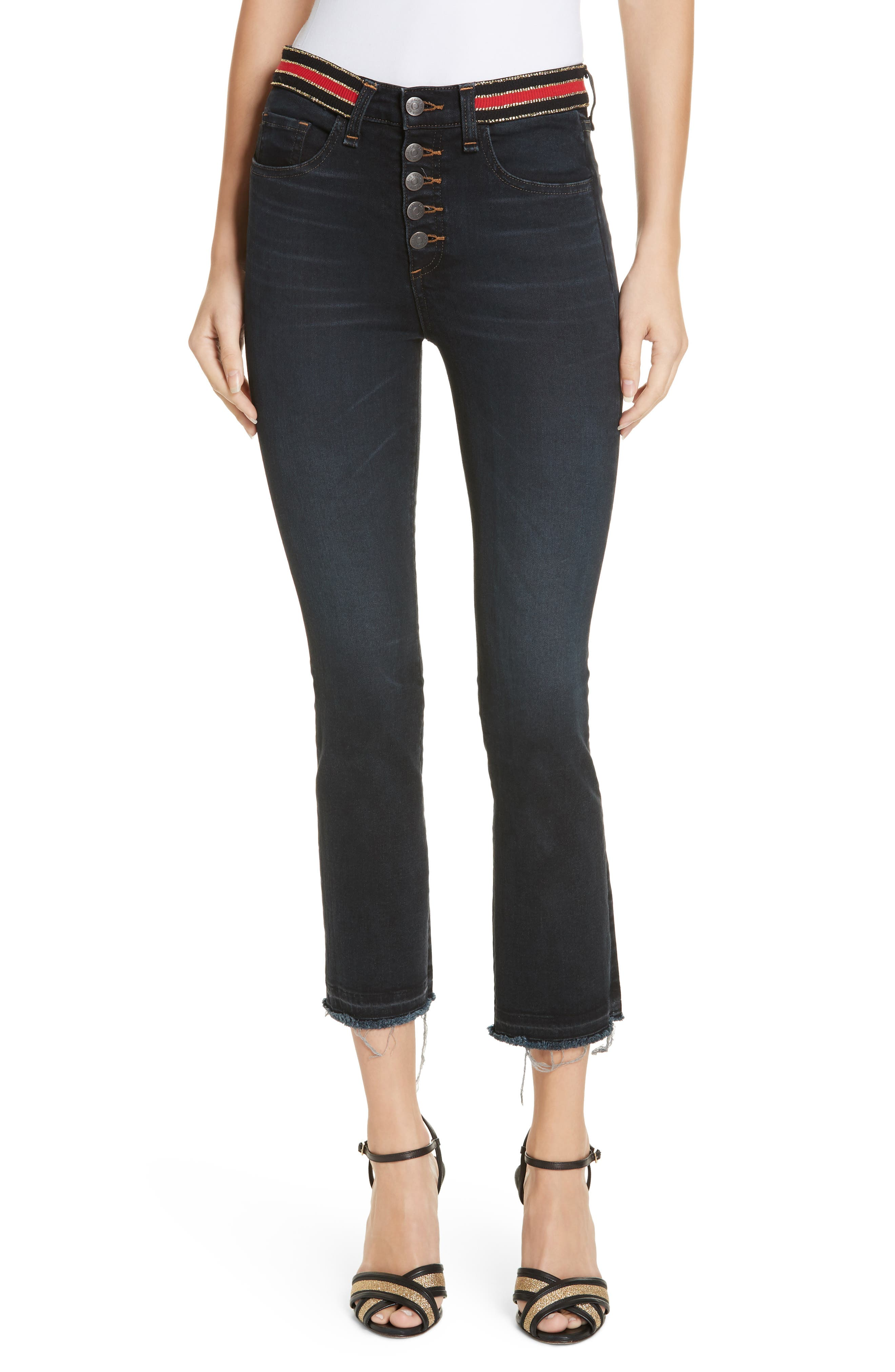 Carolyn Stripe Waist Crop Flare Jeans,                             Main thumbnail 1, color,                             DARK SLATE