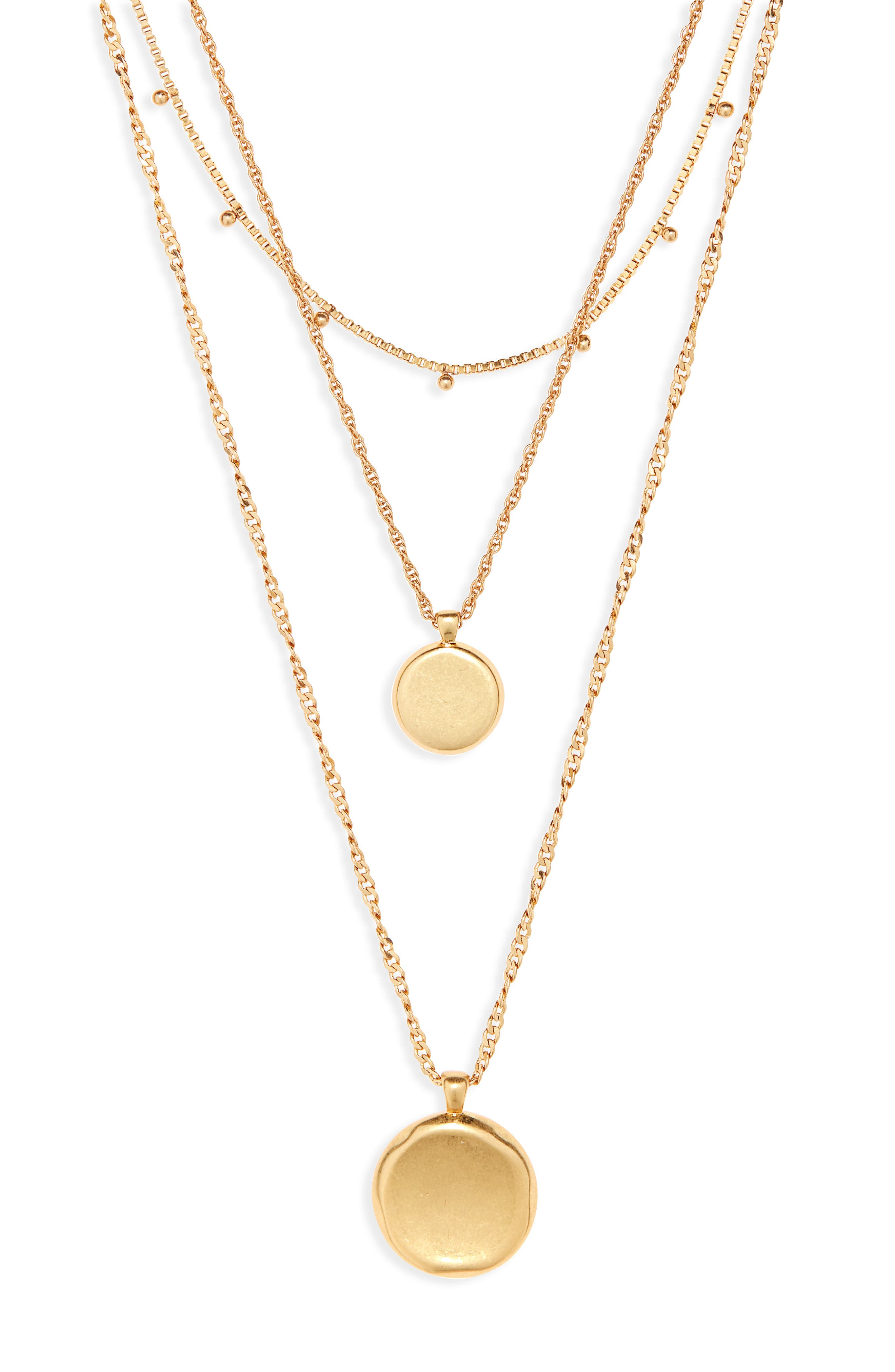 Coin Layered Necklace,                         Main,                         color,