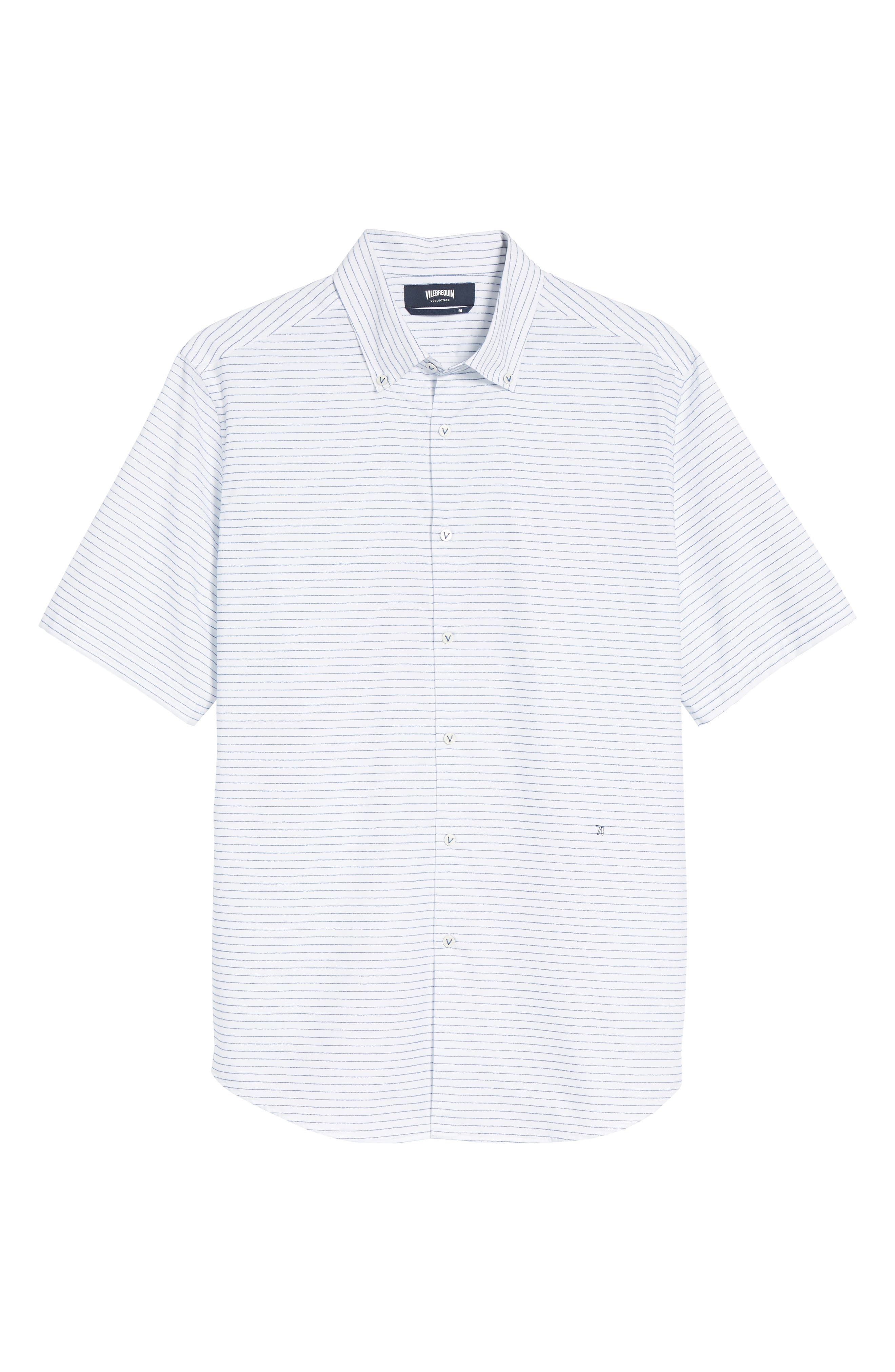 Slim Fit Stripe Sport Shirt,                             Alternate thumbnail 6, color,                             163