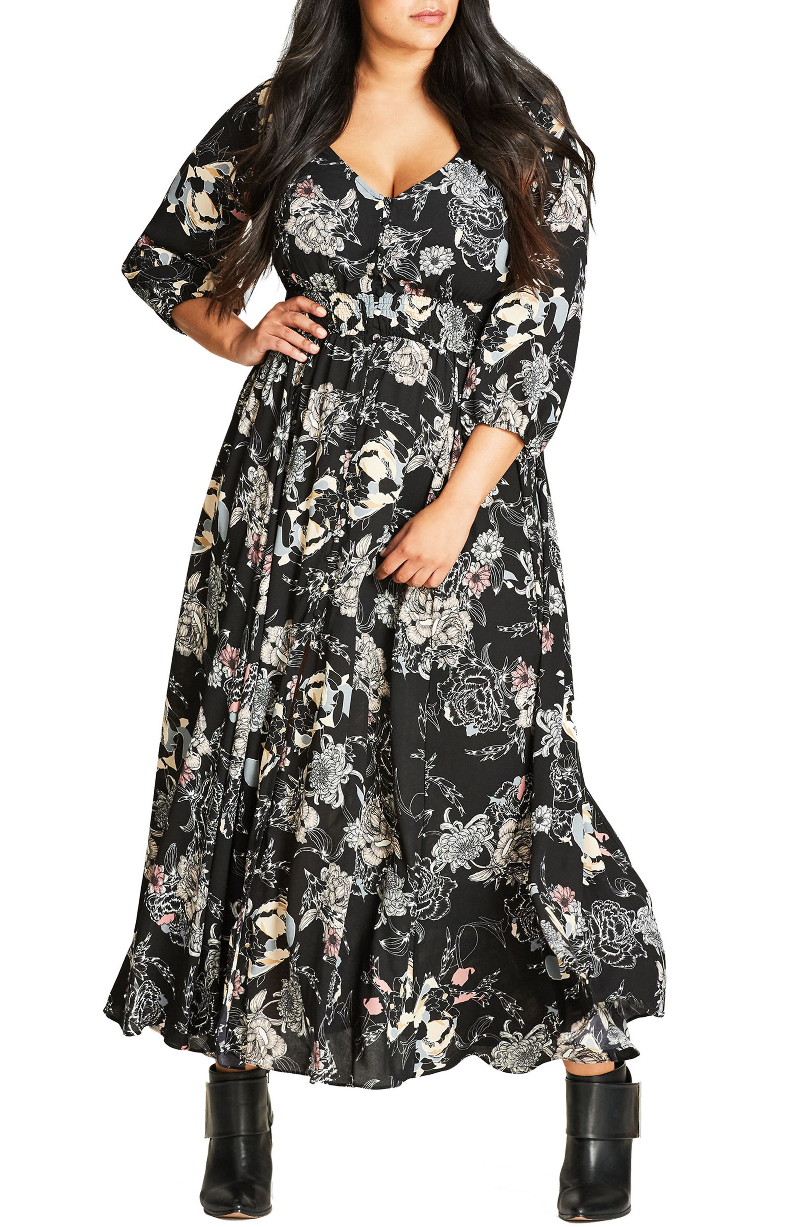CITY CHIC,                             Floral Maxi Dress,                             Main thumbnail 1, color,                             001