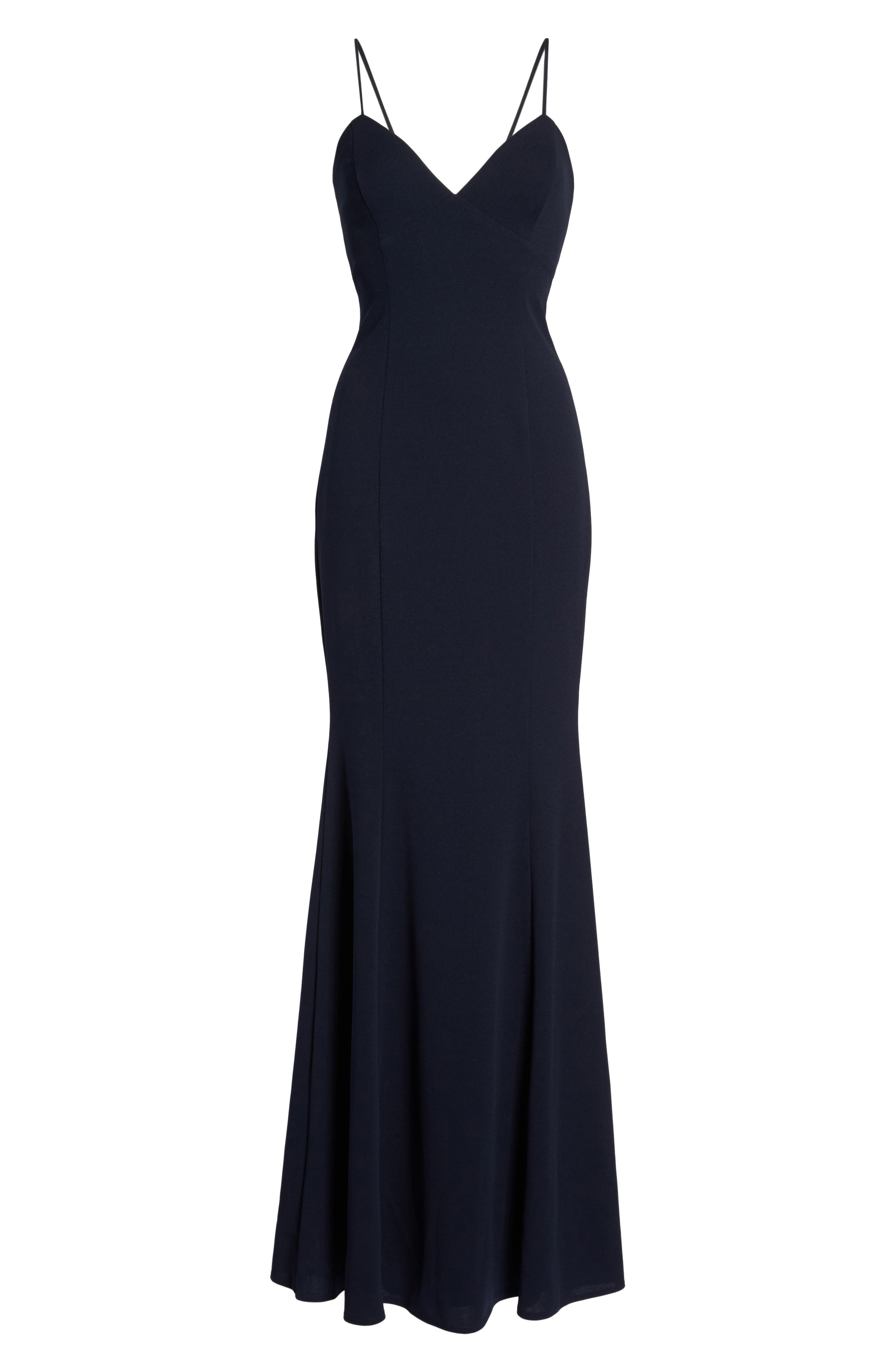 Luna Stretch Crepe Gown,                             Alternate thumbnail 6, color,                             NAVY