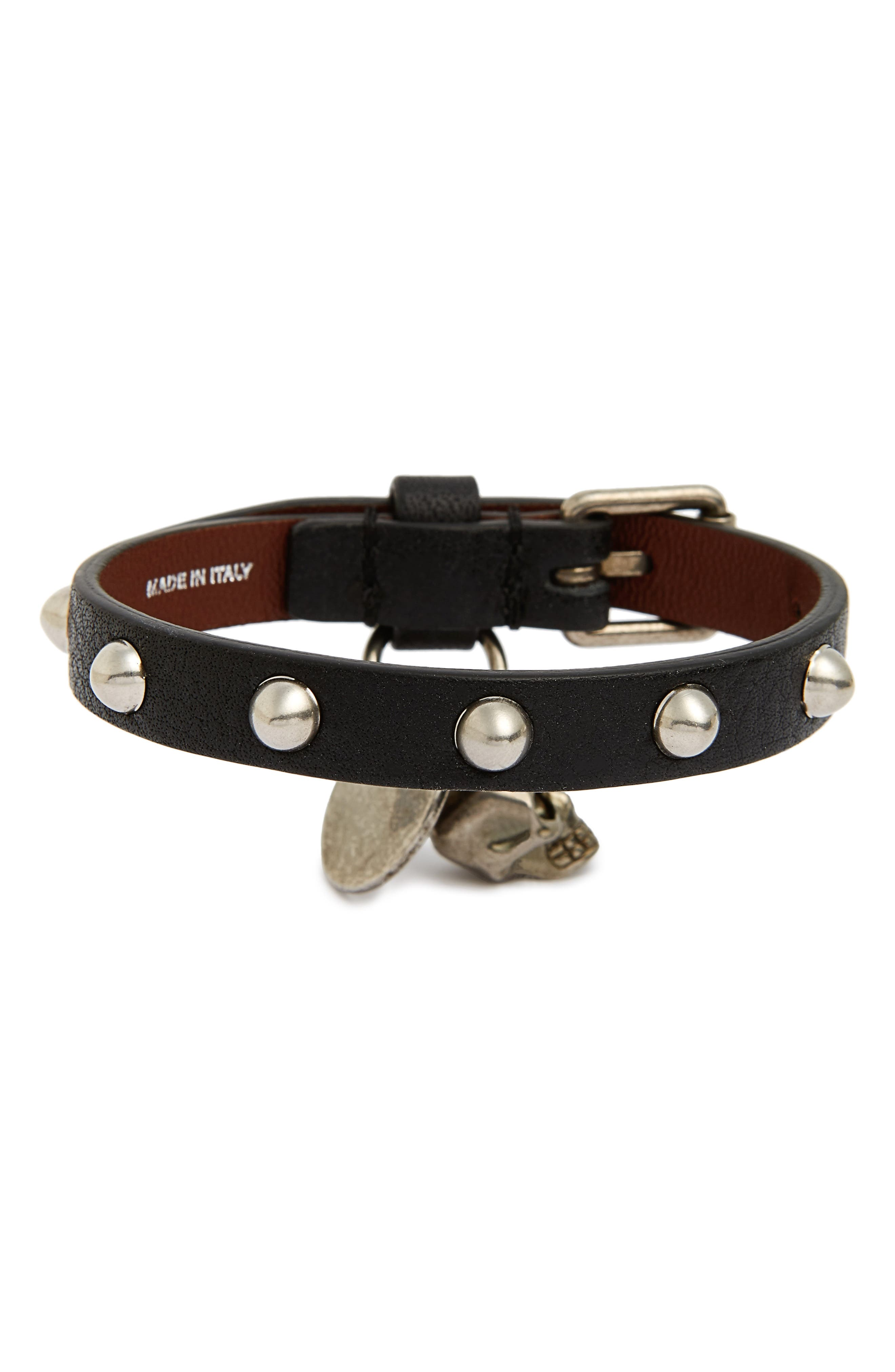 Studded Leather Bracelet,                             Alternate thumbnail 2, color,