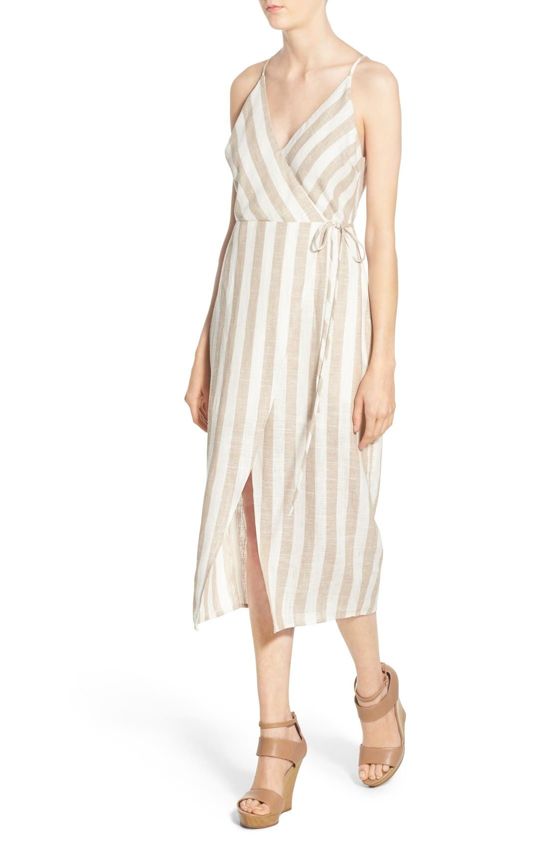 ASTR THE LABEL,                             ASTR Linen Blend Wrap Dress,                             Alternate thumbnail 5, color,                             250