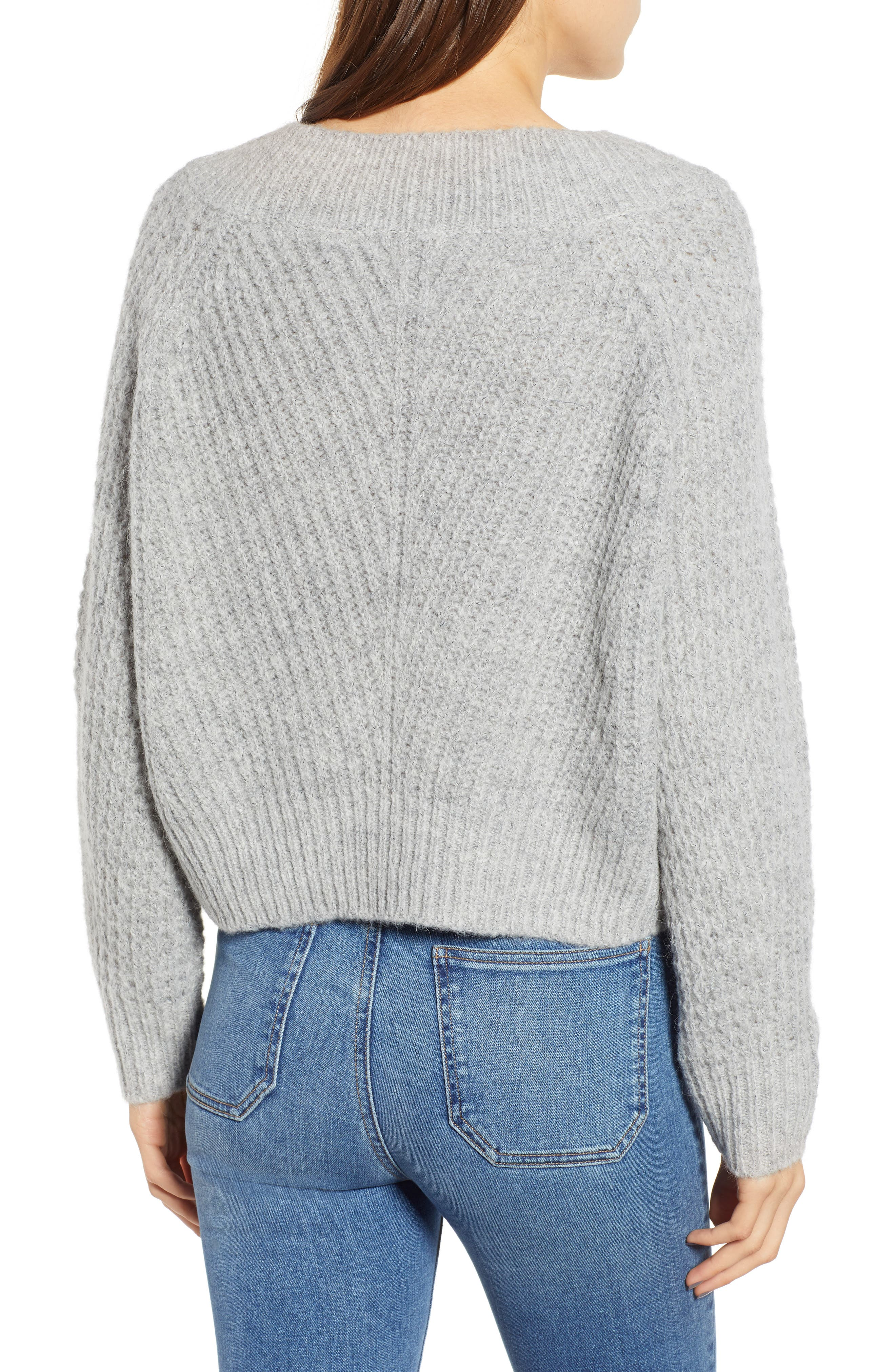 Chunky Crewneck Pullover Sweater,                             Alternate thumbnail 2, color,                             GREY PEARL HEATHER