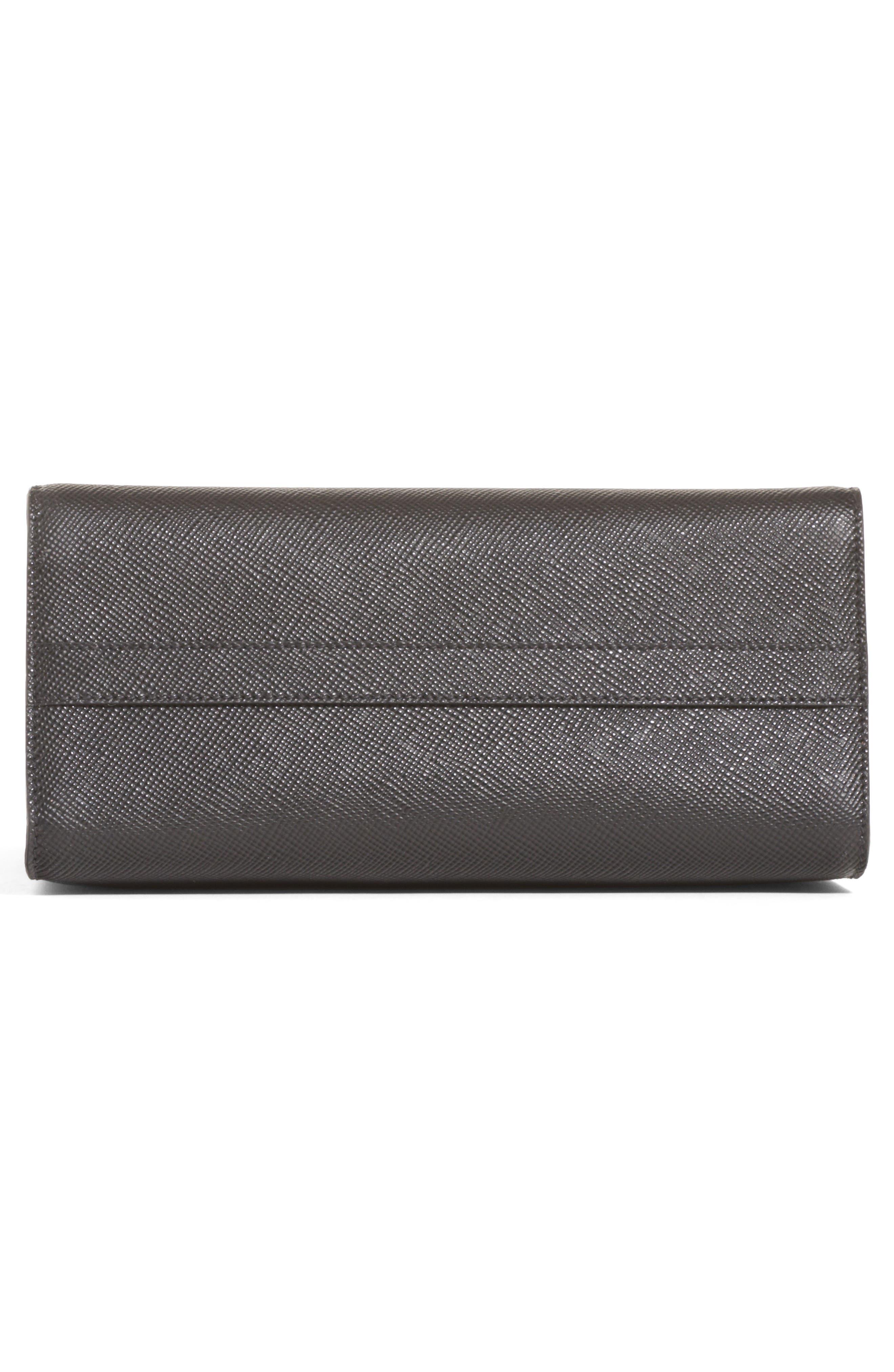Monochrome Logo Top Handle Leather Handbag,                             Alternate thumbnail 5, color,                             NERO
