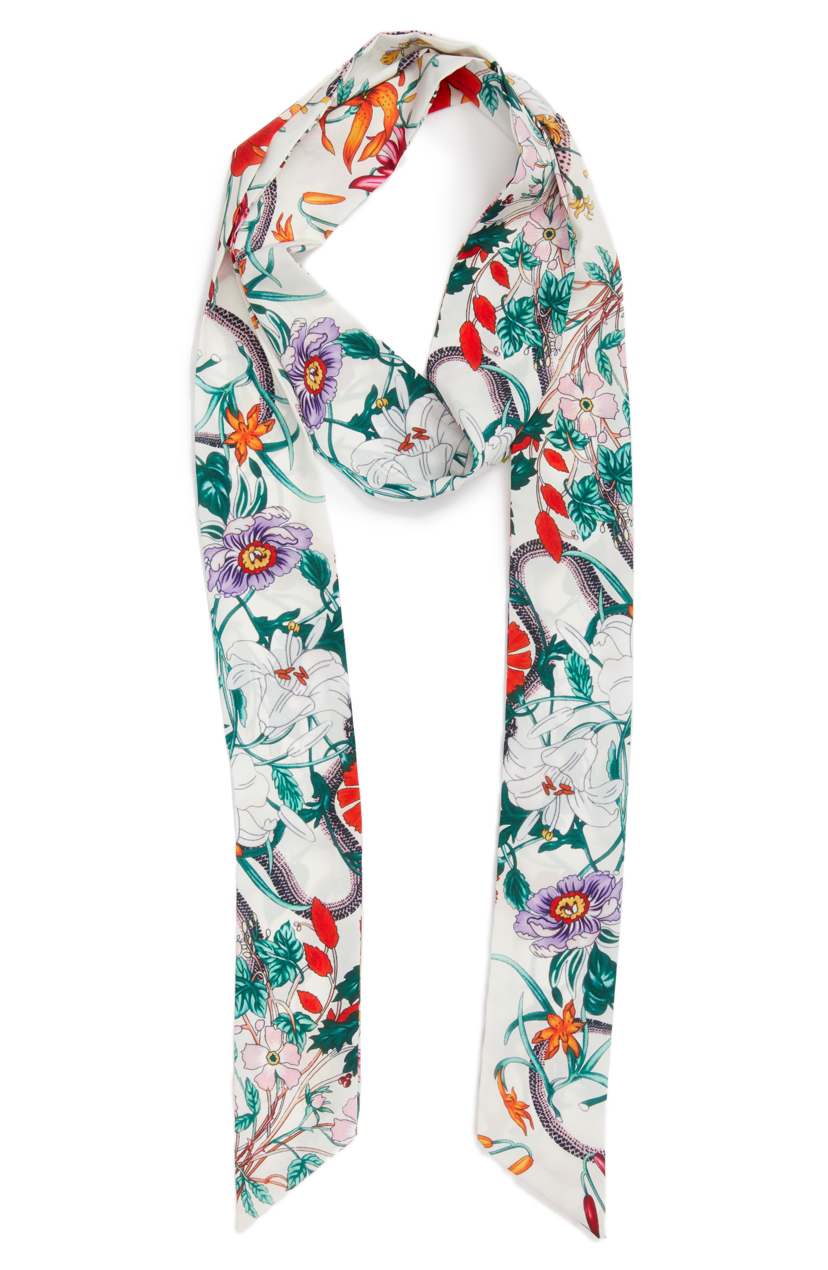 Floral Print Skinny Scarf,                             Alternate thumbnail 2, color,