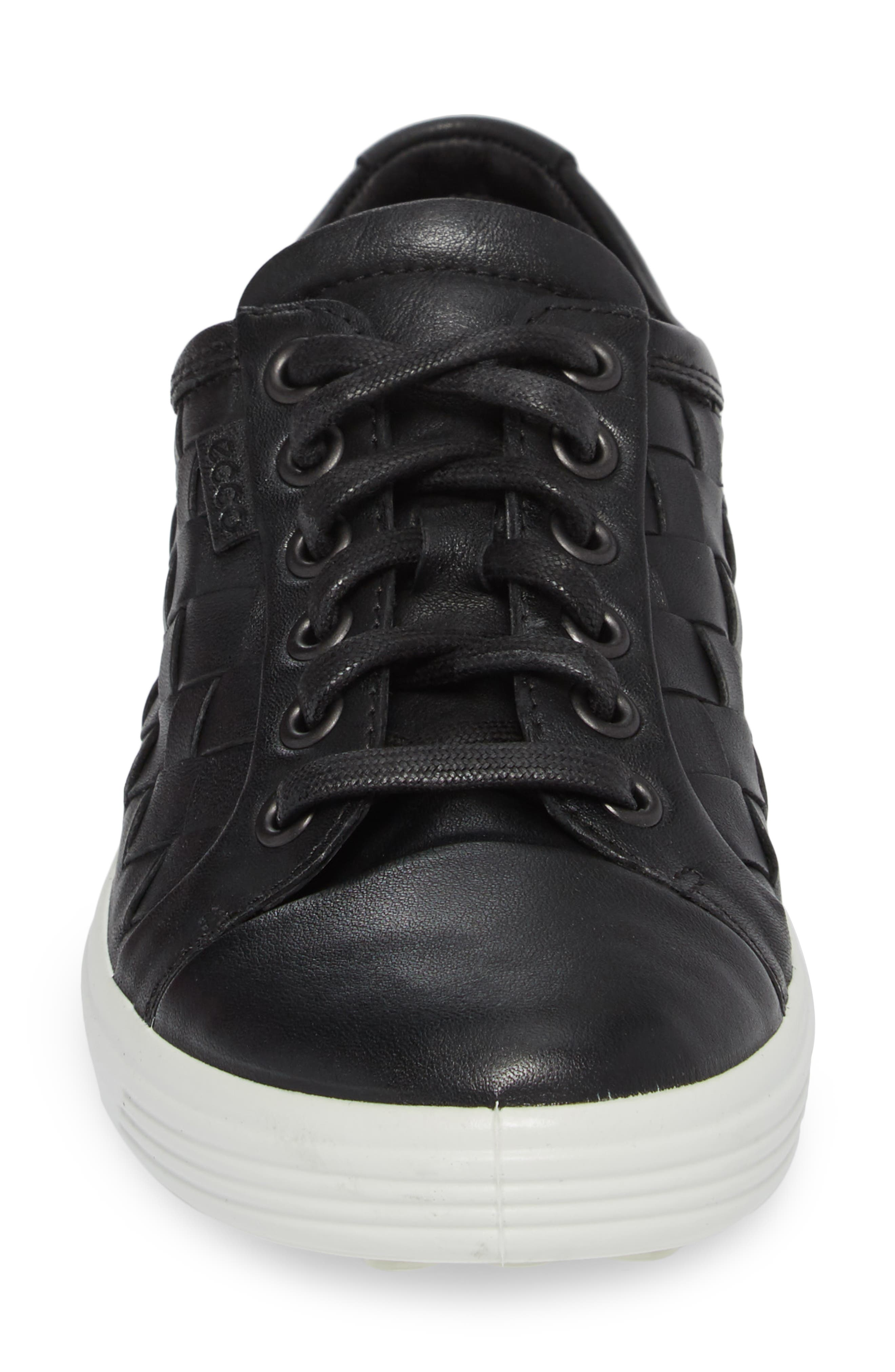 ECCO,                             Soft 7 Woven Sneaker,                             Alternate thumbnail 4, color,                             BLACK LEATHER