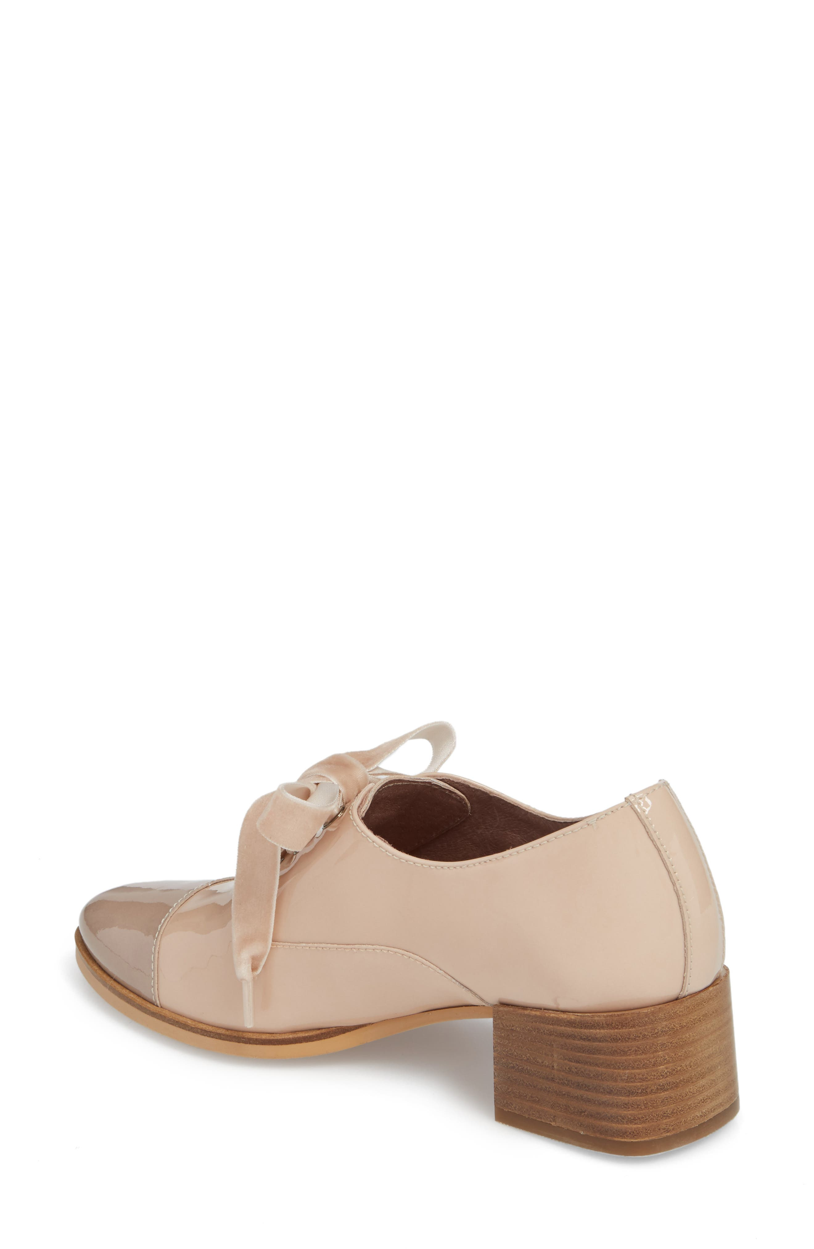 Lace-Up Oxford Pump,                             Alternate thumbnail 2, color,                             TAUPE/ PALO PATENT LEATHER