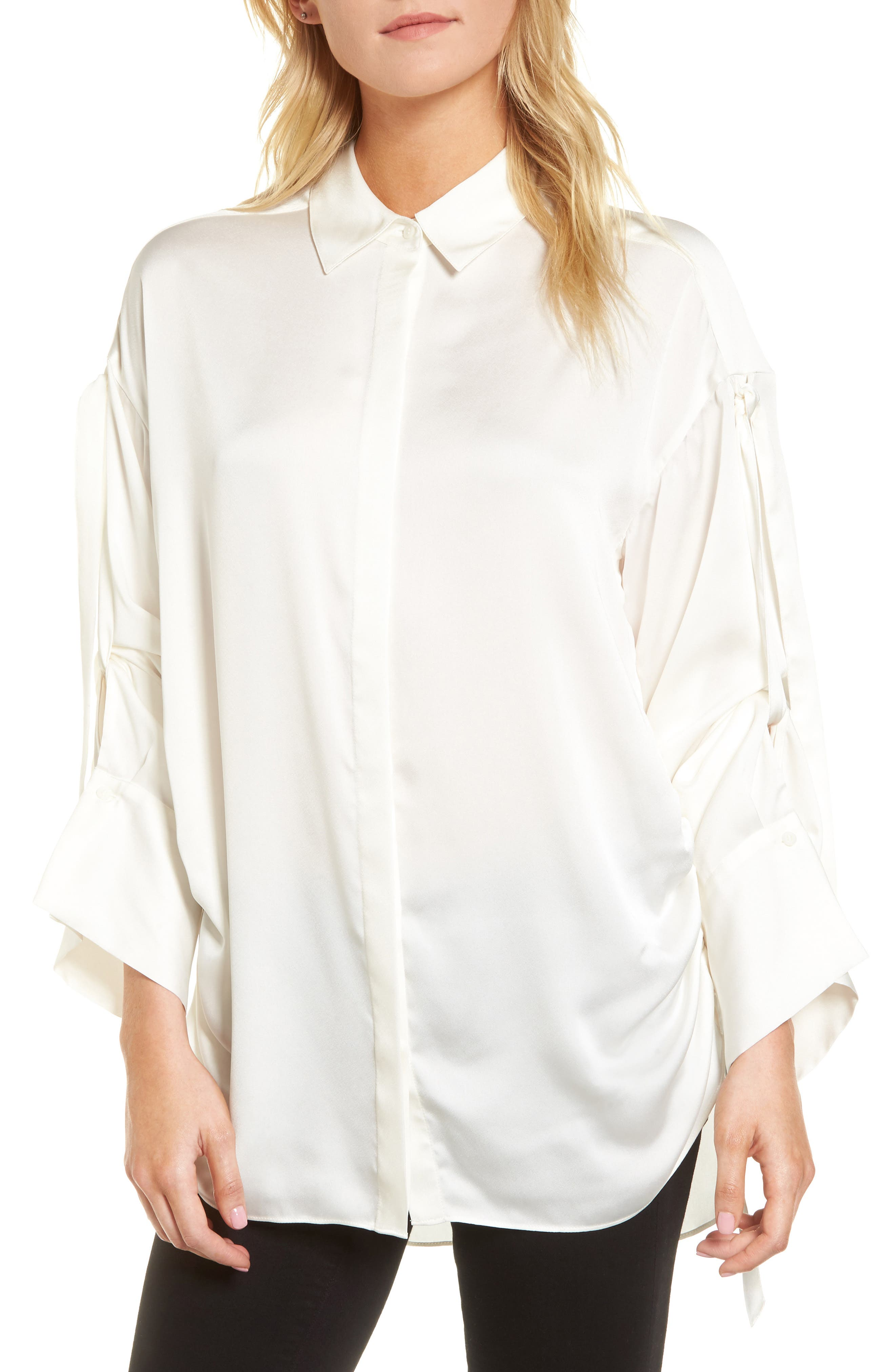 Tie Sleeve Satin Top,                             Main thumbnail 1, color,                             100