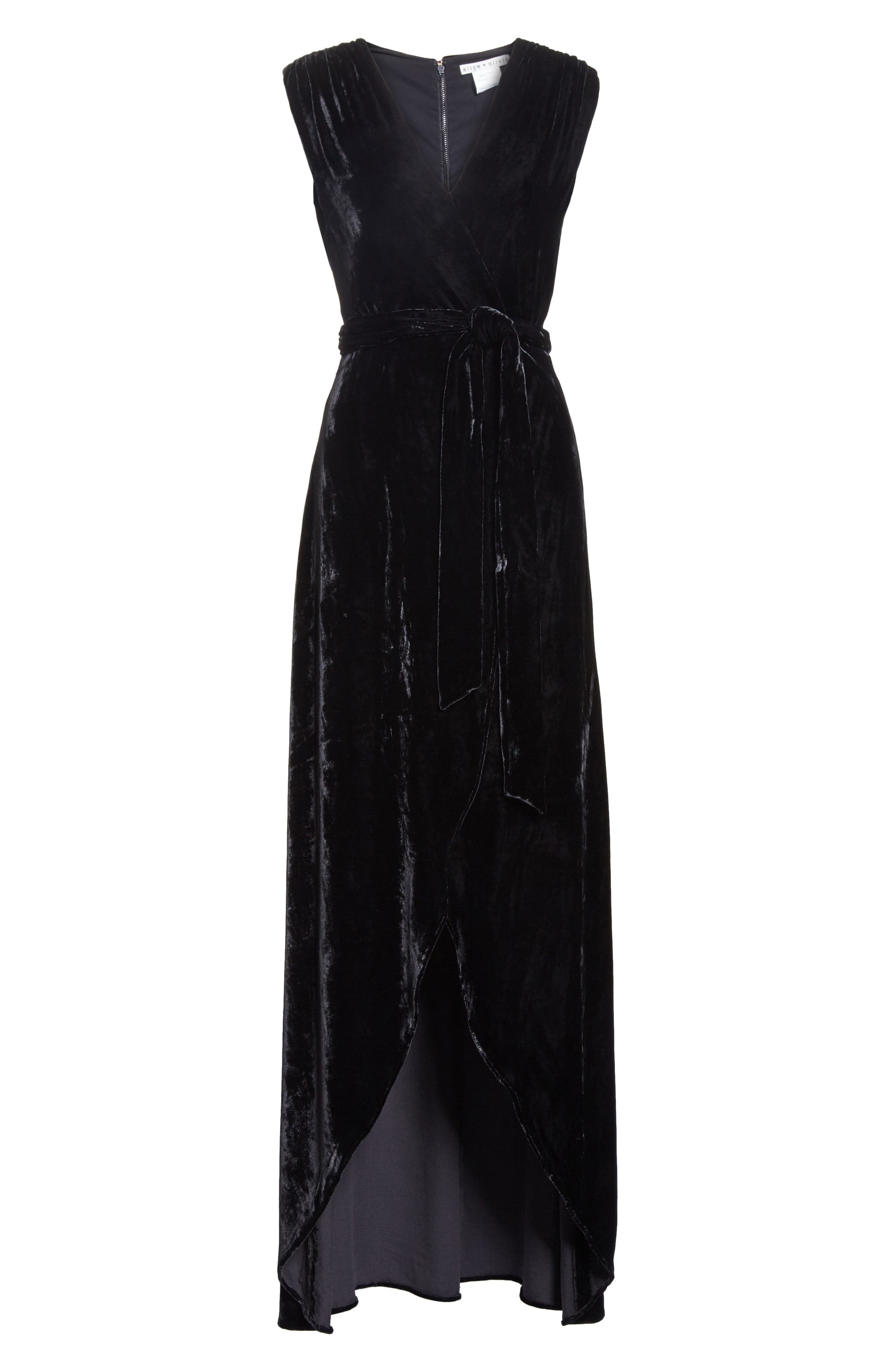 Simmons Velvet Wrap Maxi Dress,                             Alternate thumbnail 6, color,                             001