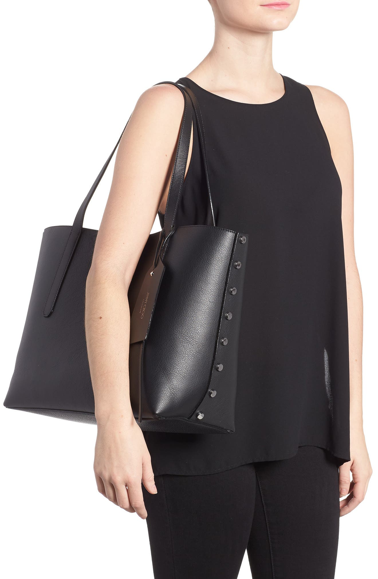 Twist Leather Tote,                             Alternate thumbnail 2, color,                             010
