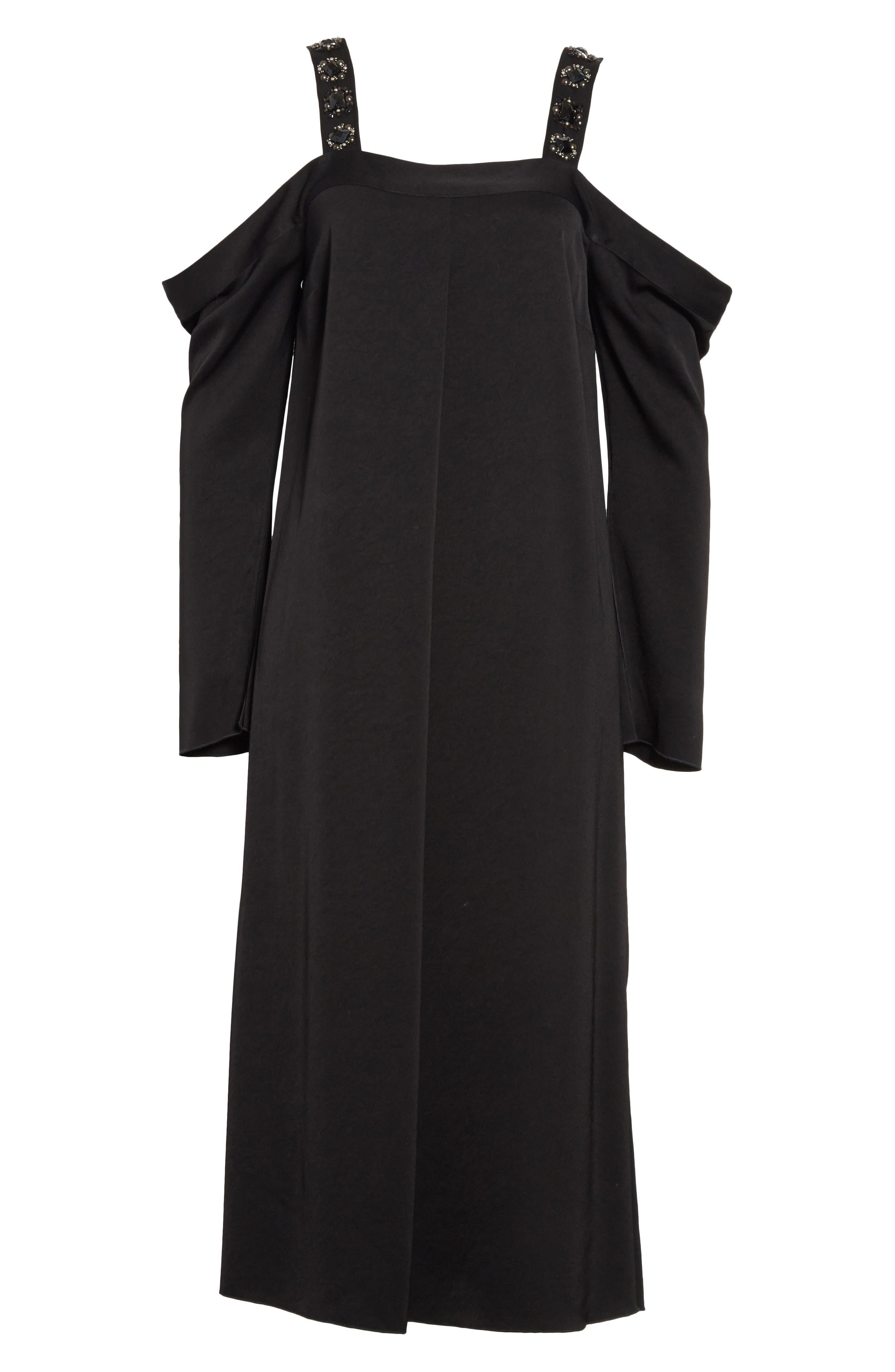 Fynn Embellished Cold Shoulder Midi Dress,                             Alternate thumbnail 6, color,                             001