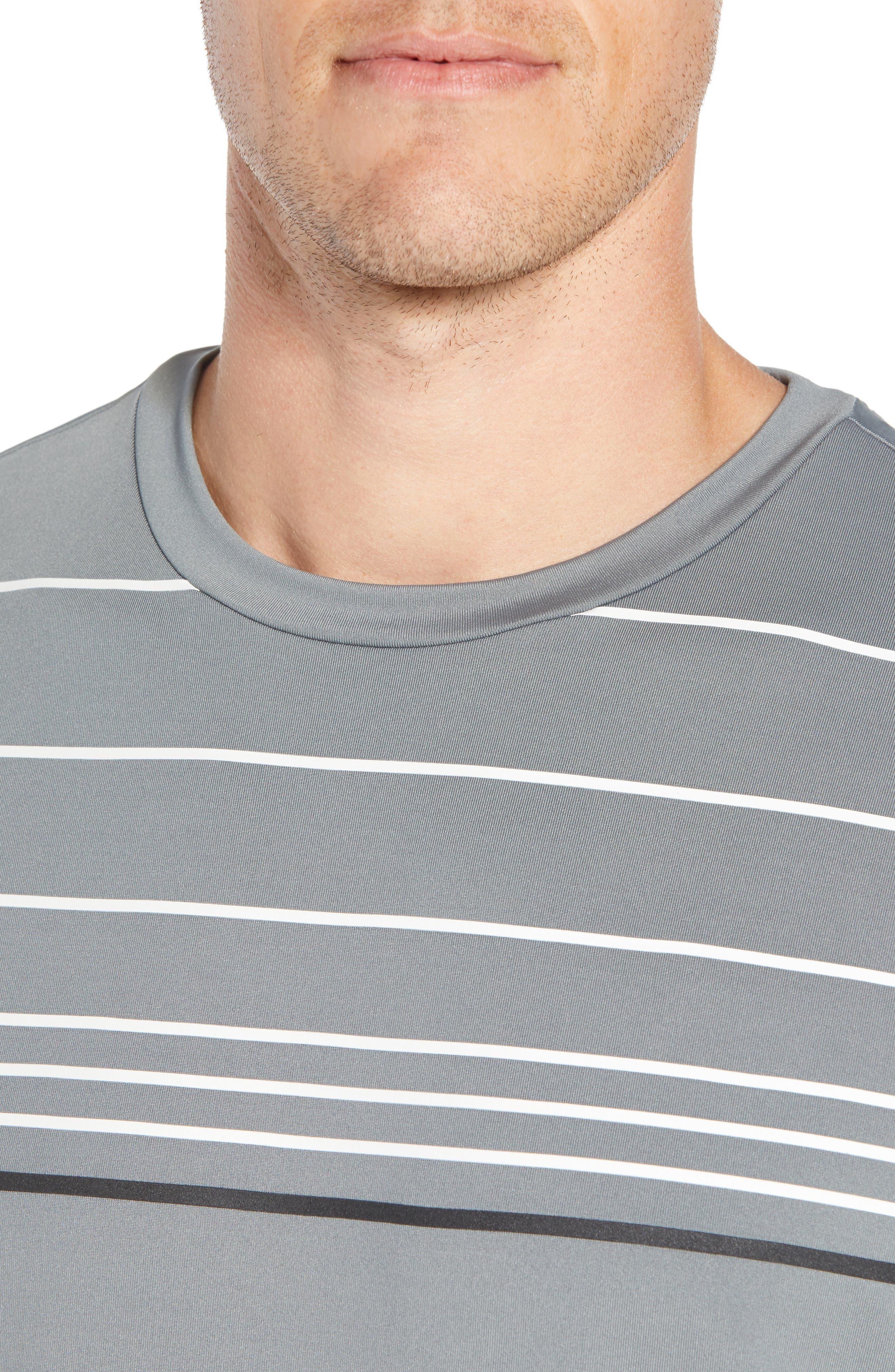 Stripe Performance T-Shirt,                             Alternate thumbnail 4, color,                             GRAPHITE
