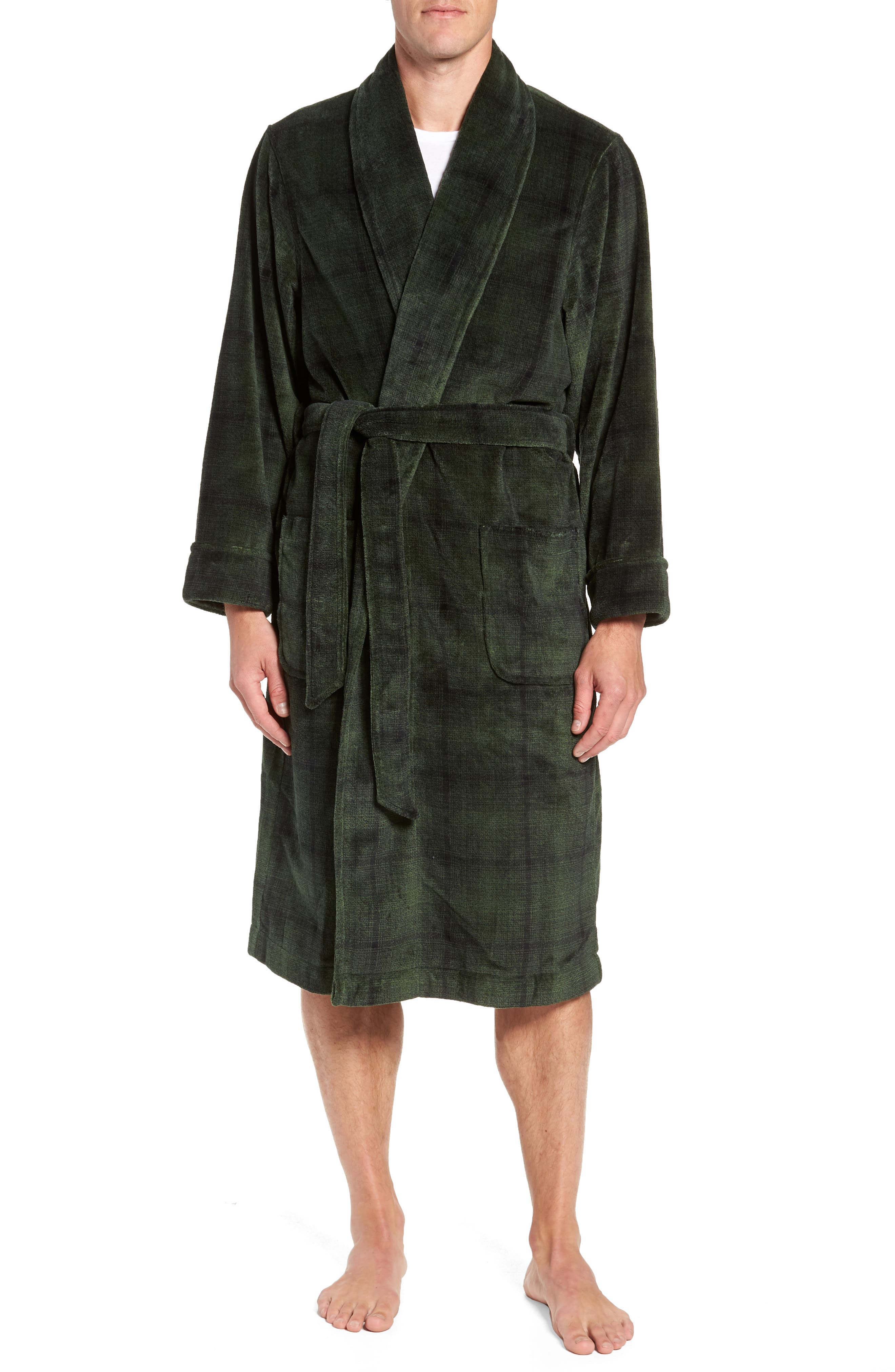 Ombré Plaid Fleece Robe,                             Main thumbnail 1, color,                             GREEN - BLACK OMBRE PLAID