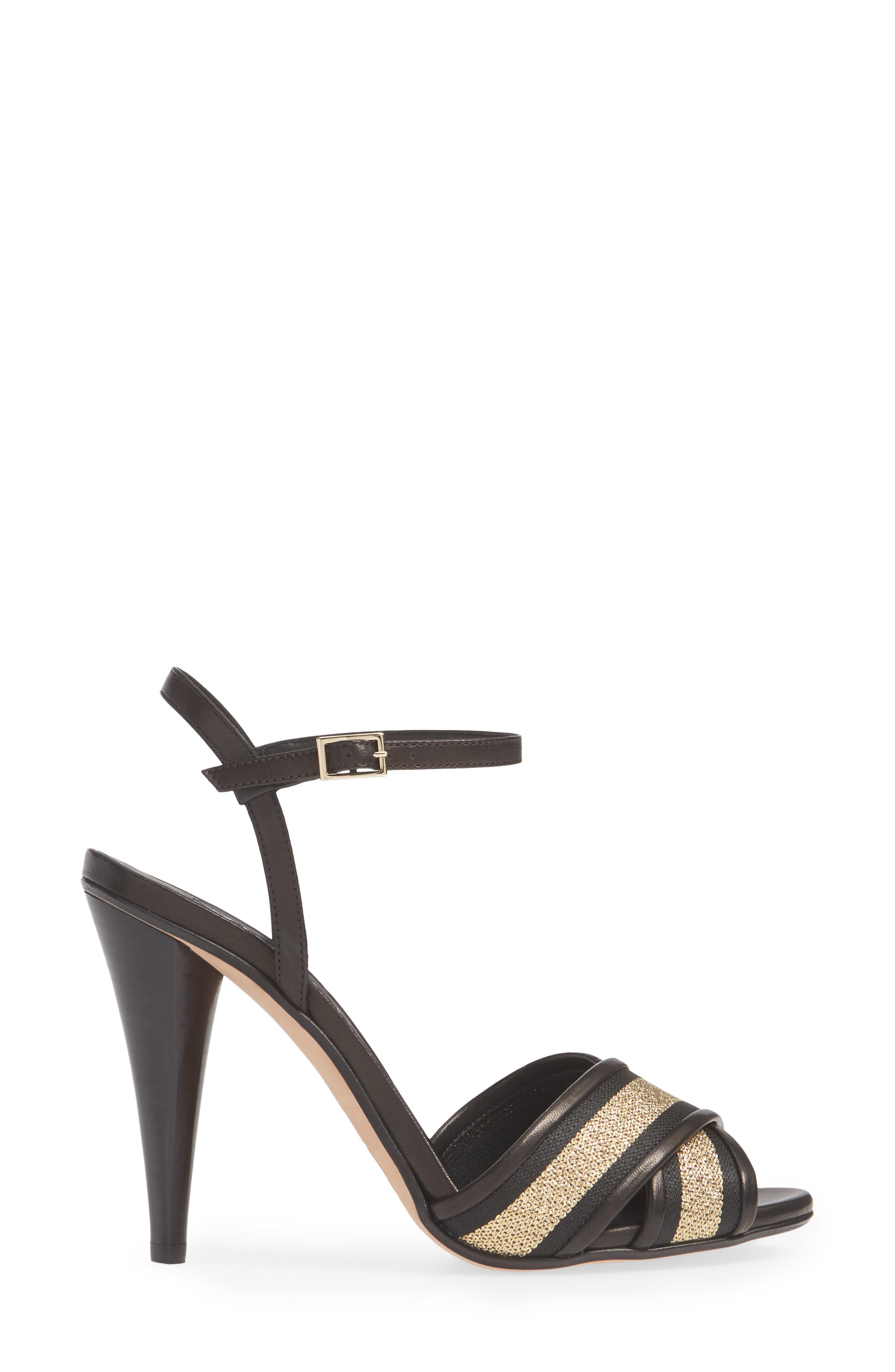 VERONICA BEARD,                             Olympia Quarter Strap Sandal,                             Alternate thumbnail 3, color,                             BLACK/ GOLD