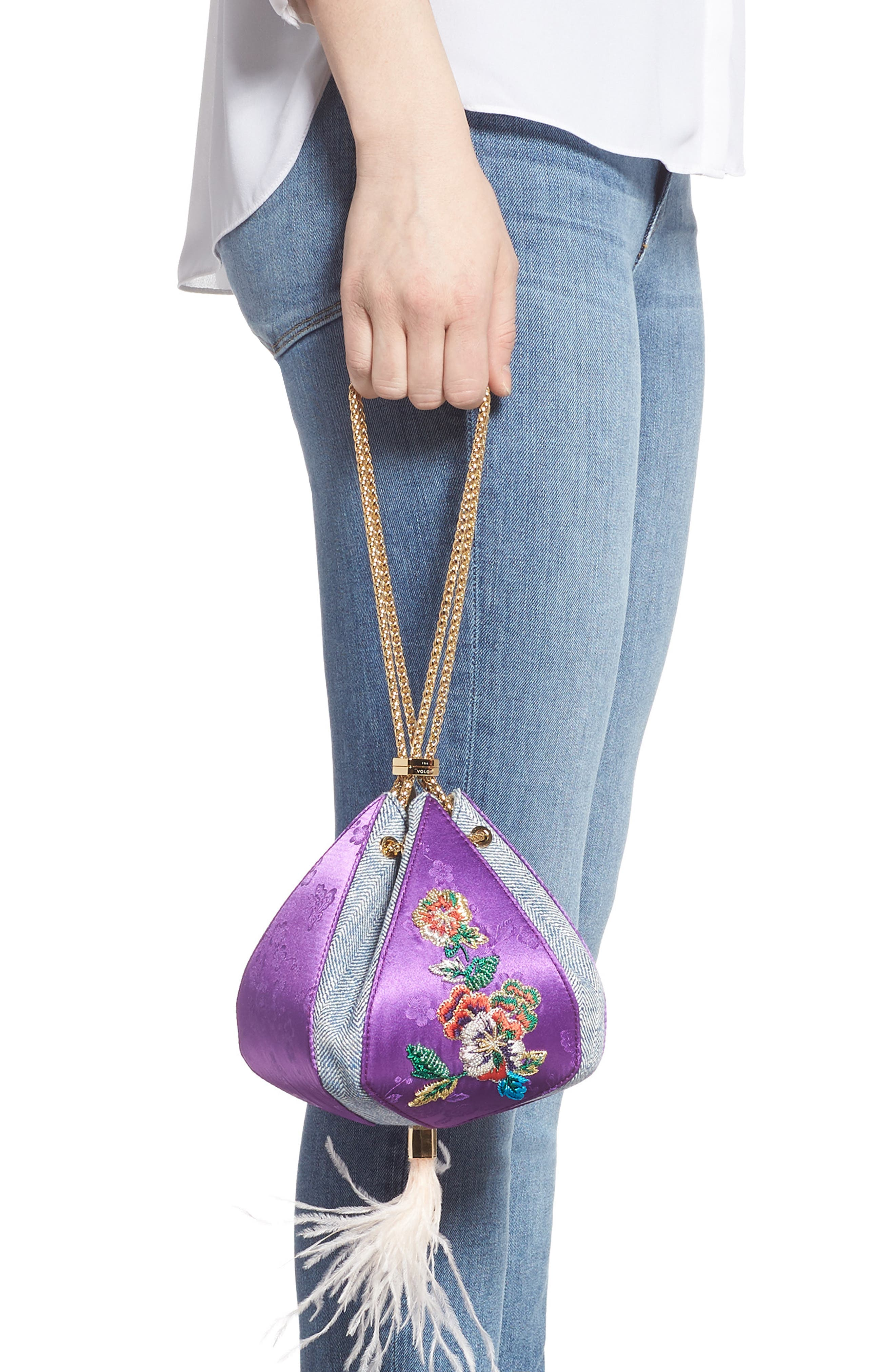 THE VOLON,                             Cindy Flower Embroidered Brocade & Denim Clutch,                             Alternate thumbnail 3, color,                             CHECK PURPLE