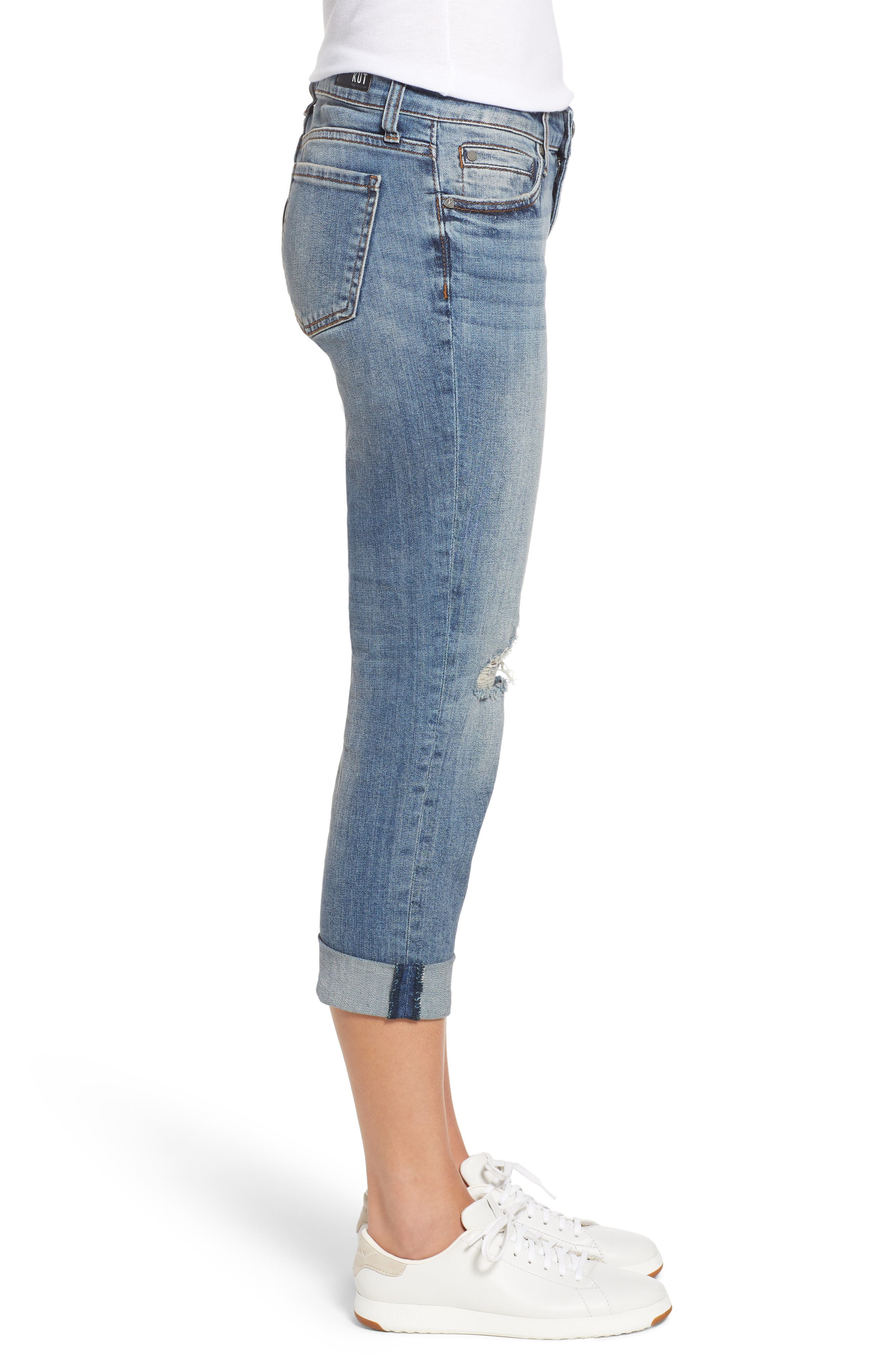 Catherine Ripped Straight Leg Ankle Jeans,                             Alternate thumbnail 3, color,                             400