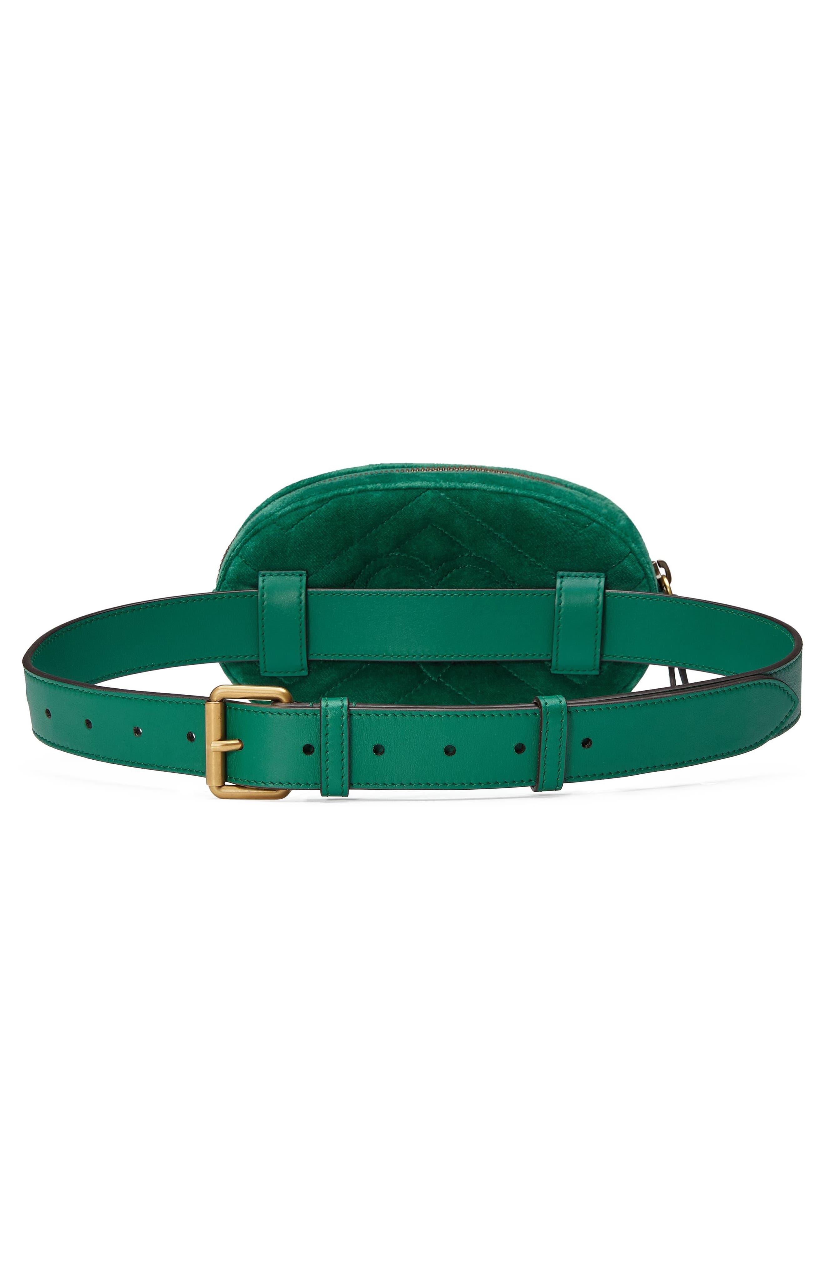 Small GG Marmont 2.0 Velvet Belt Bag,                             Alternate thumbnail 2, color,                             EMERALD/ EMERALD