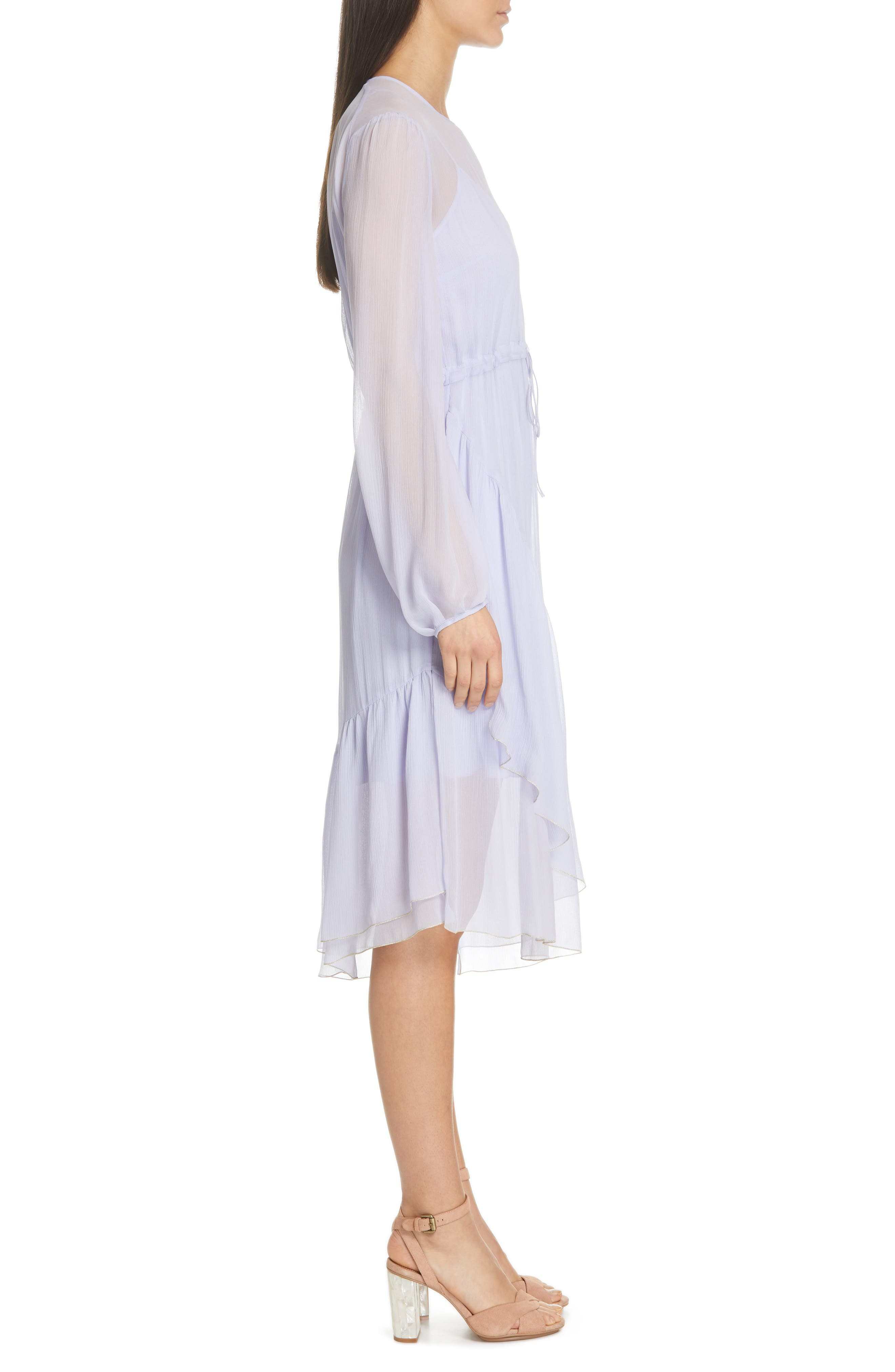 Asymmetrical Silk Midi Dress,                             Alternate thumbnail 3, color,                             SOFTY LILAC
