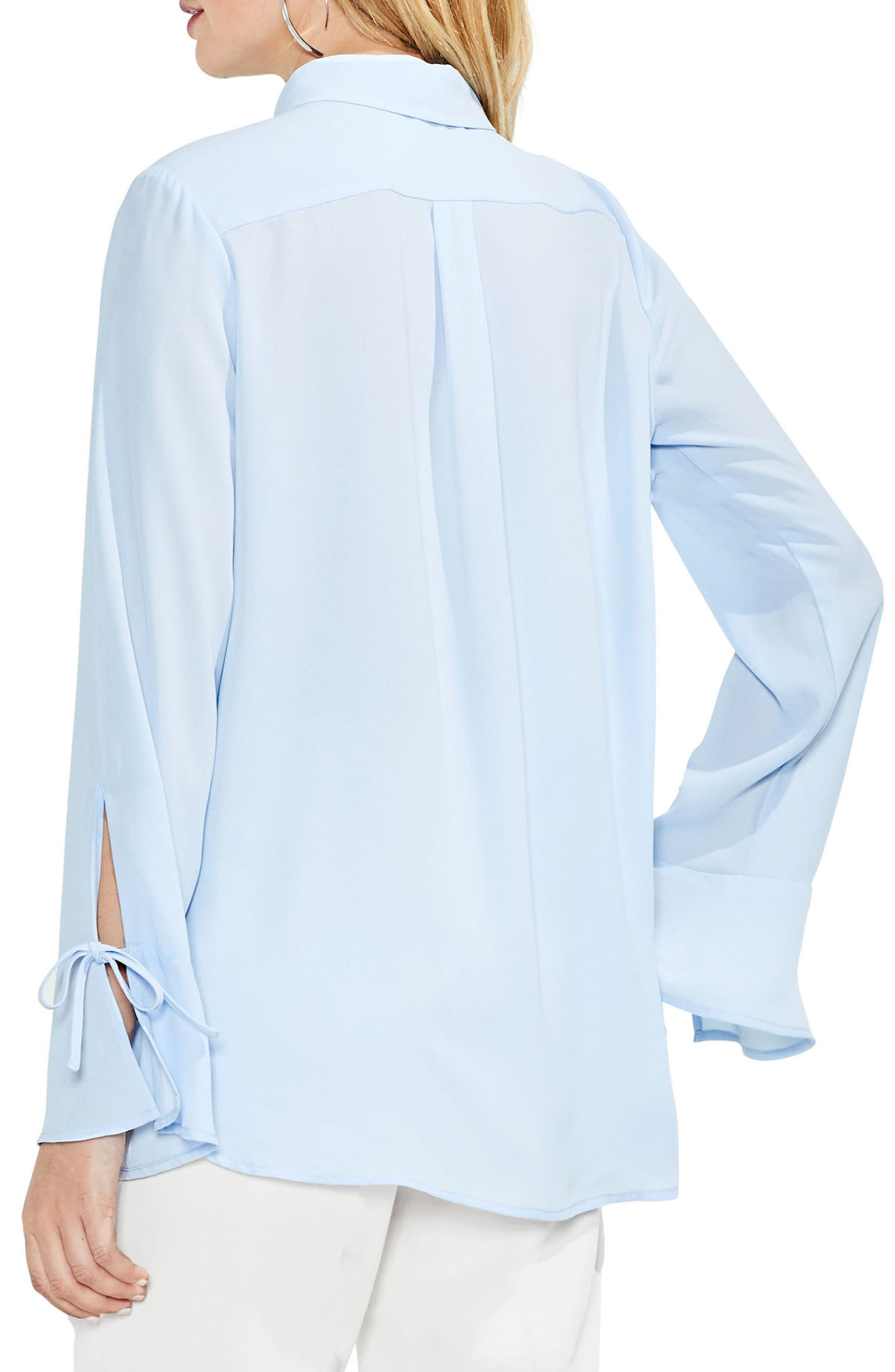 Flare Cuff Keyhole Blouse,                             Alternate thumbnail 6, color,