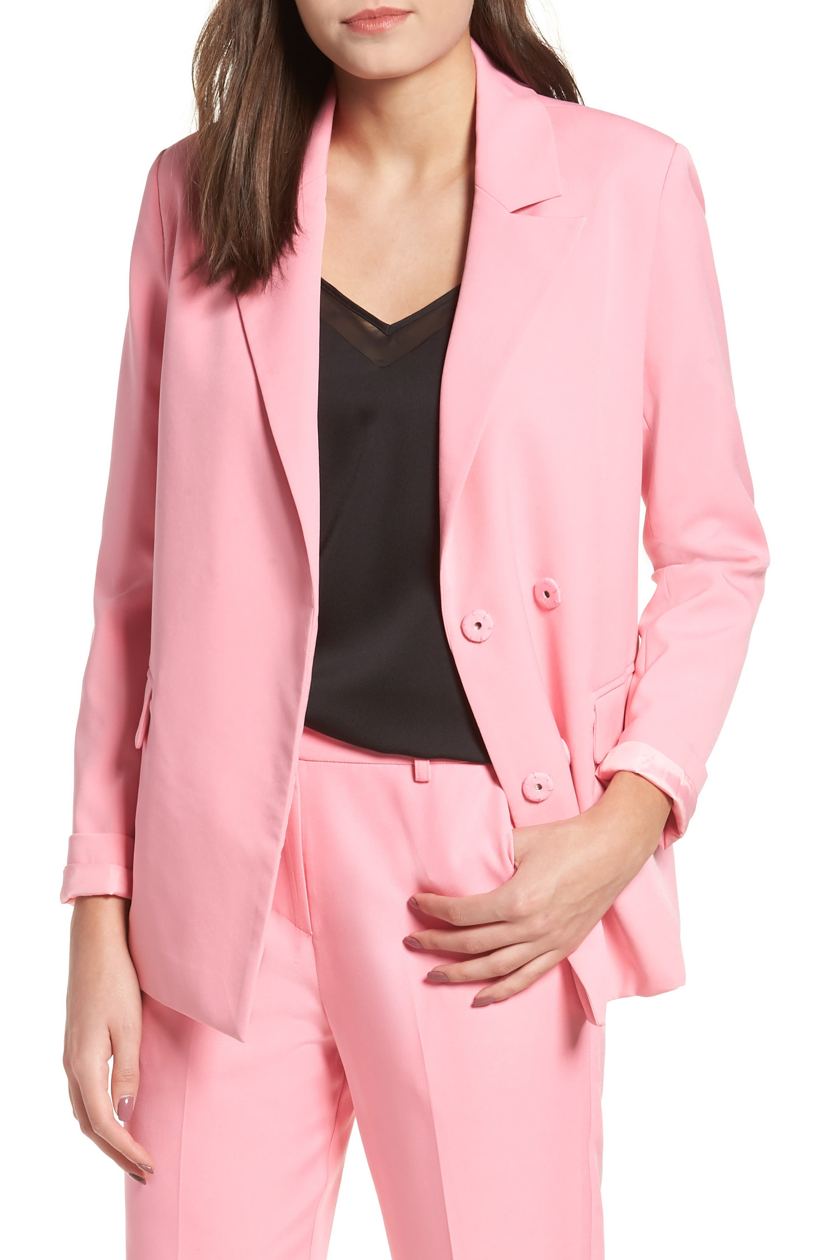 ENGLISH FACTORY Double-Breasted Snap-Front Blazer in Pink