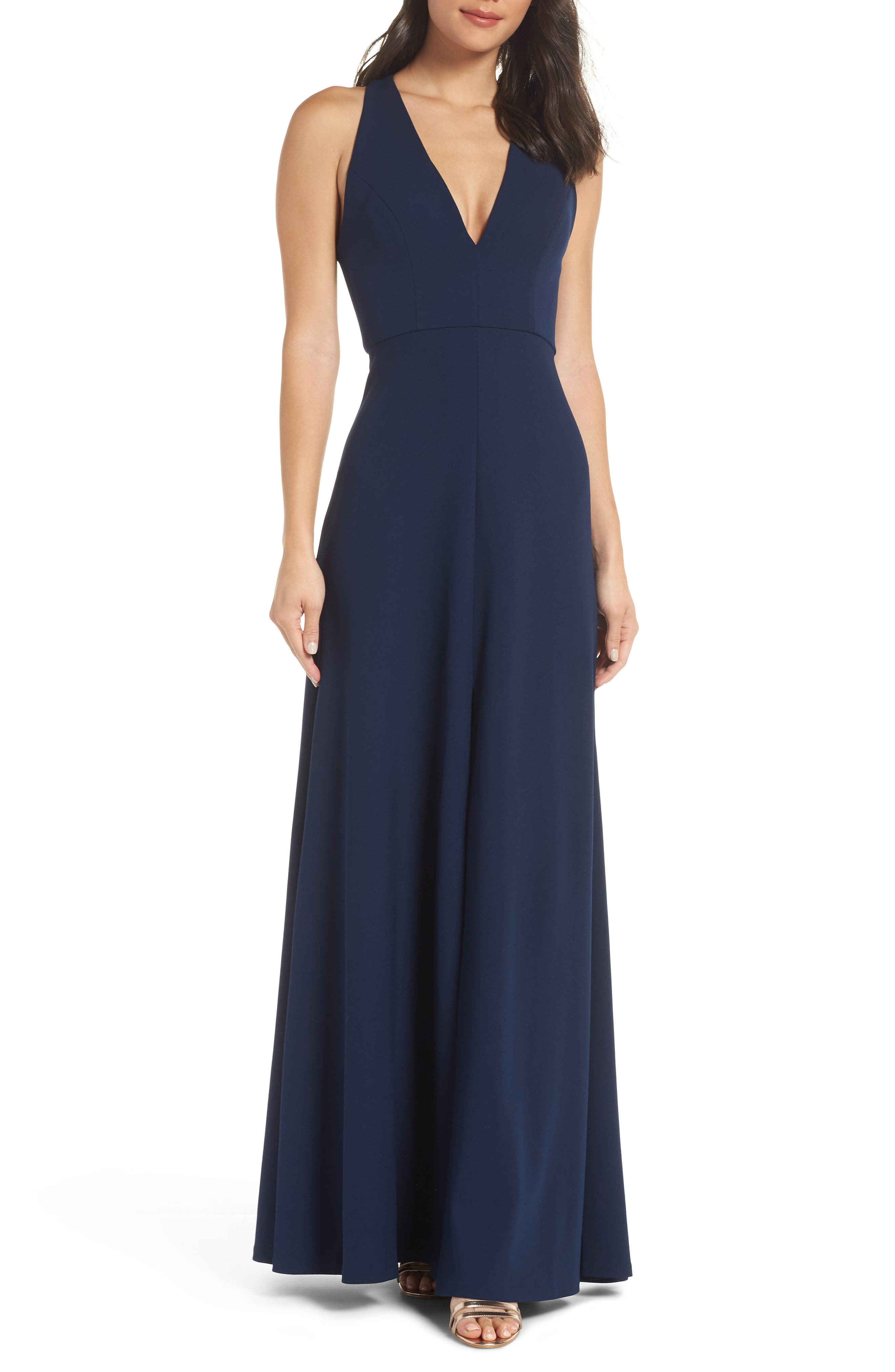 JENNY YOO Margot V-Neck Knit Crepe Gown in Midnight