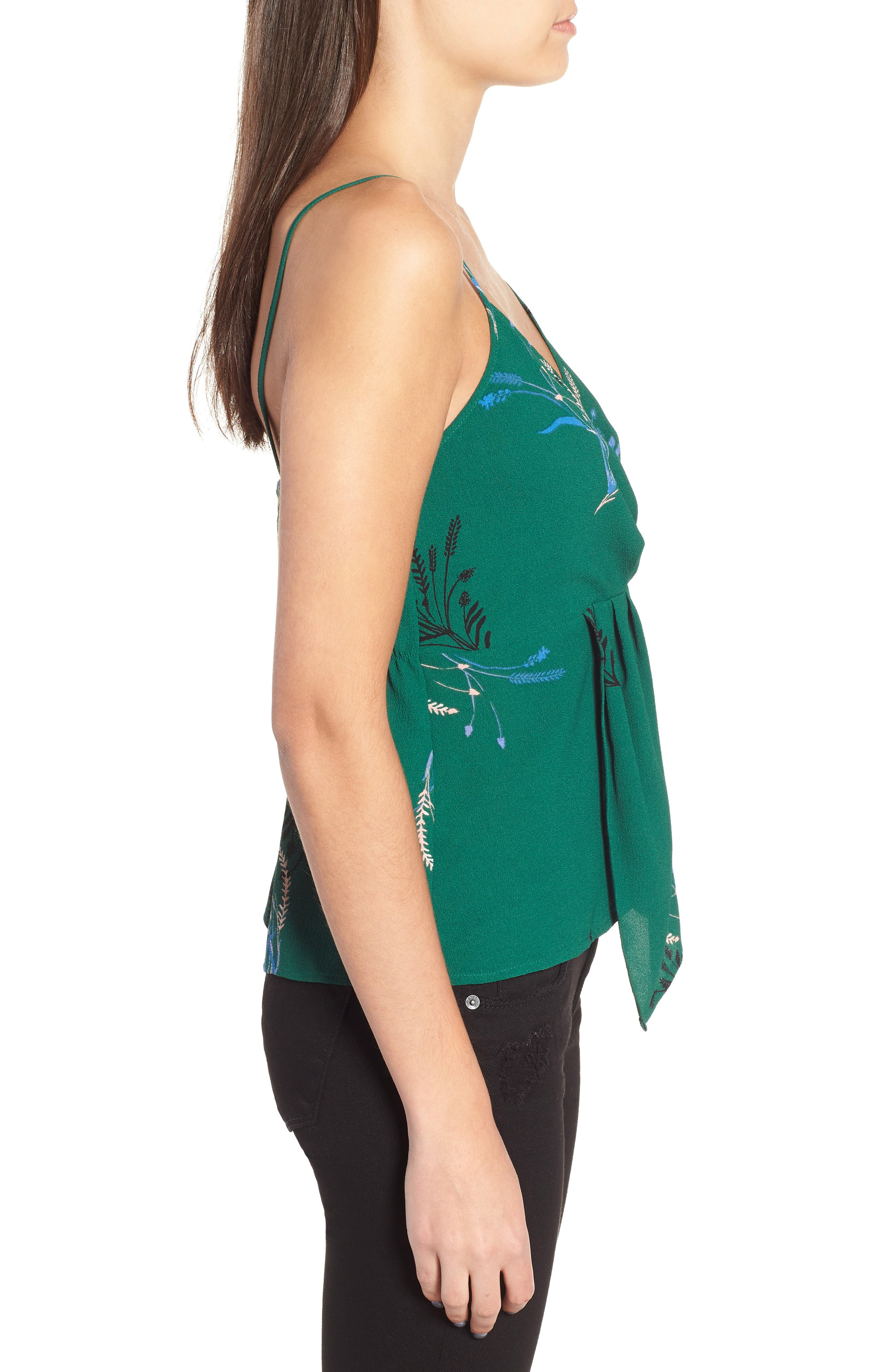 Twist Front Cami,                             Alternate thumbnail 3, color,                             GREEN BUG WILD FLORAL