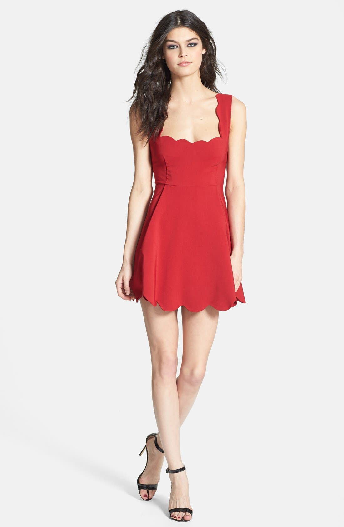 Scallop Trim Skater Dress,                         Main,                         color, 600