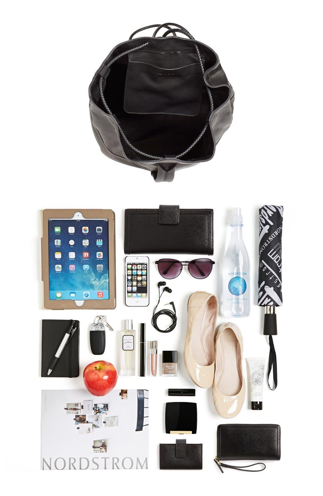 'Walker' Leather Backpack,                             Alternate thumbnail 3, color,                             001