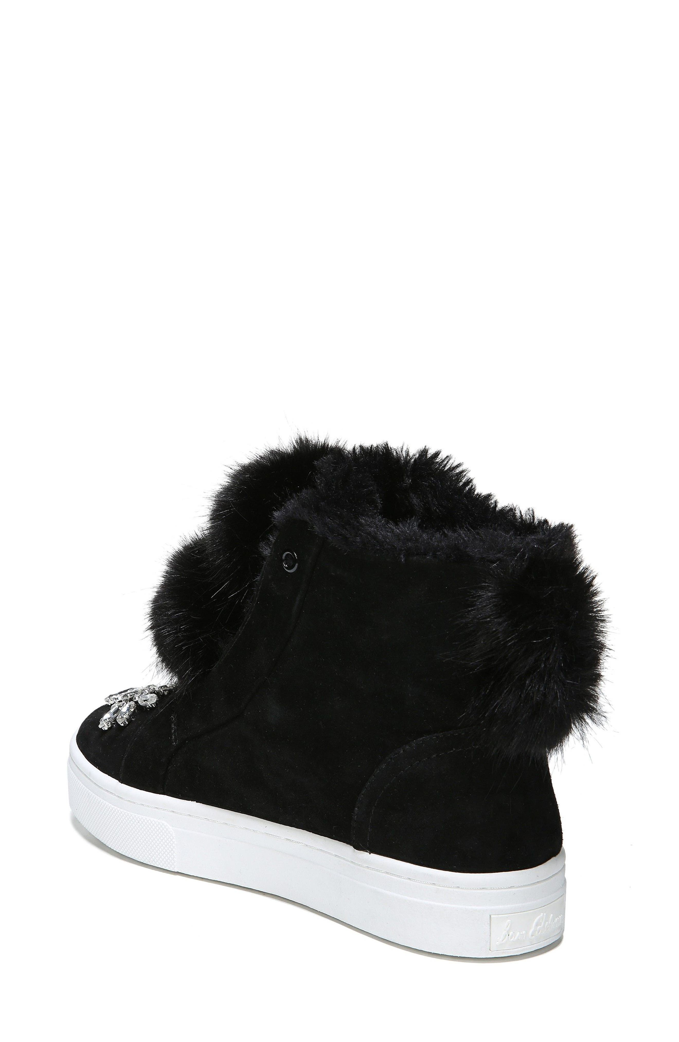 Leland Faux Fur Sneaker,                             Alternate thumbnail 2, color,                             001
