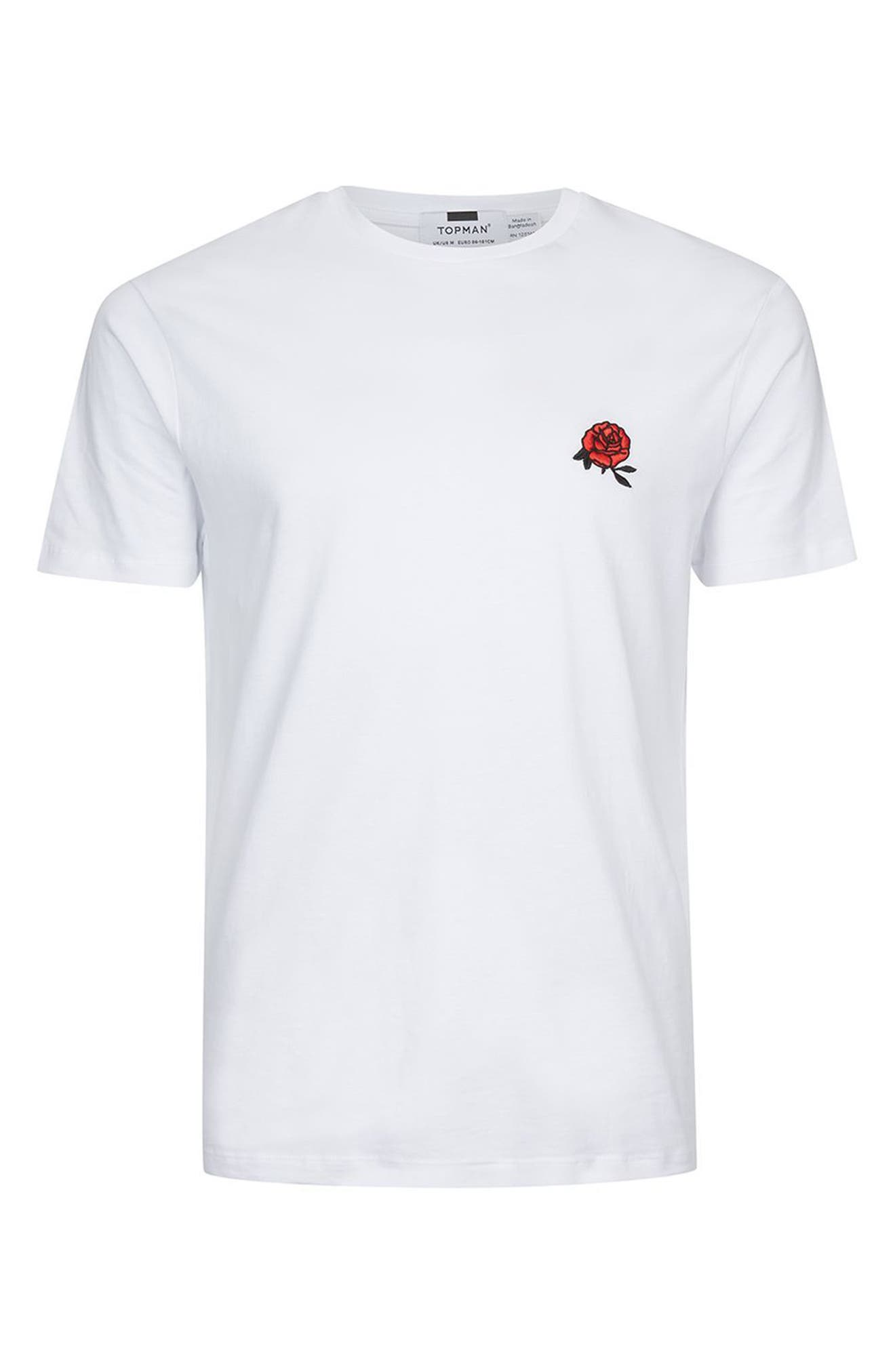 Rose Embroidered T-Shirt,                             Alternate thumbnail 4, color,                             100