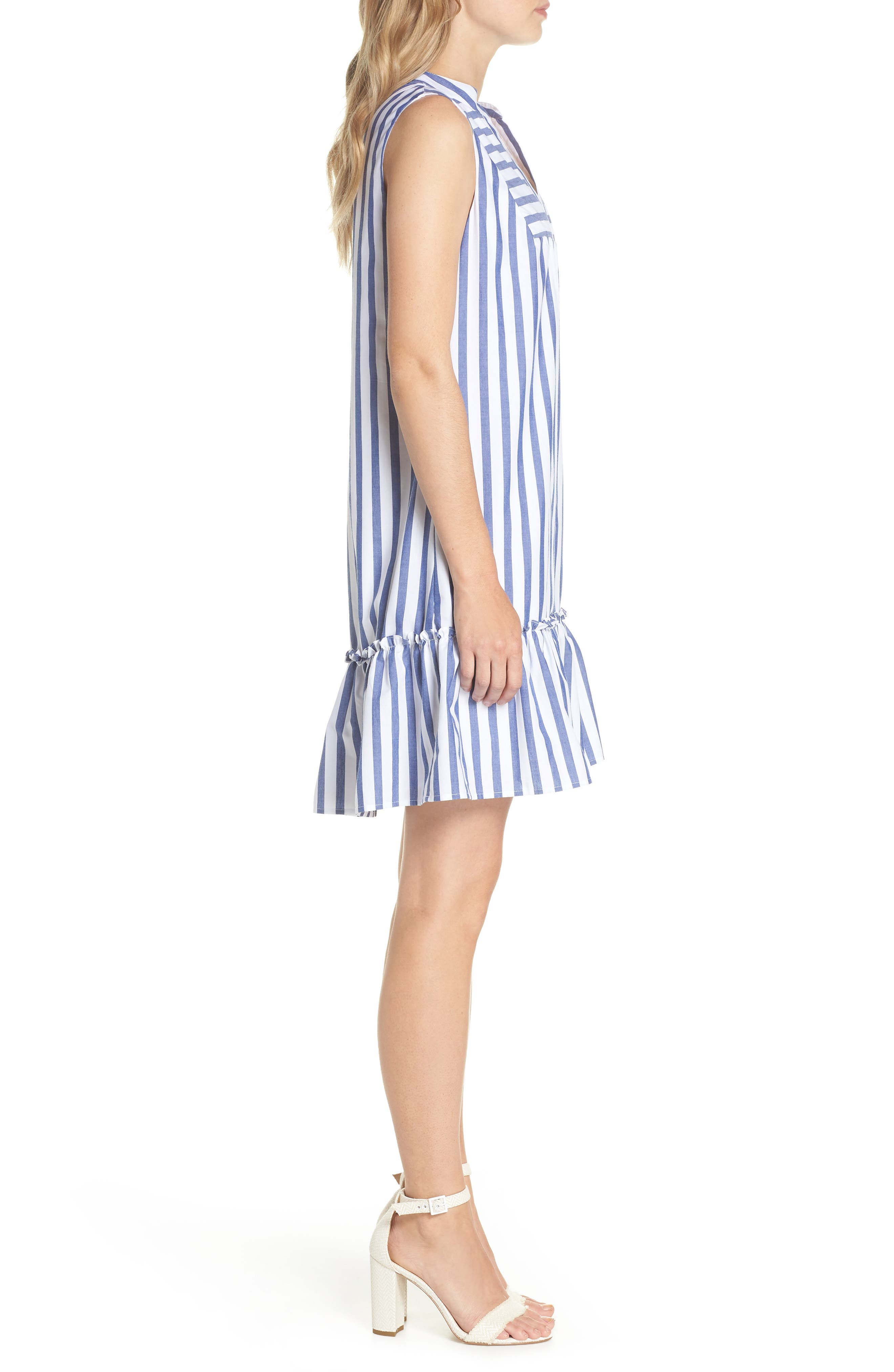 Stripe Bib Front Sleeveless Shift Dress,                             Alternate thumbnail 3, color,                             465