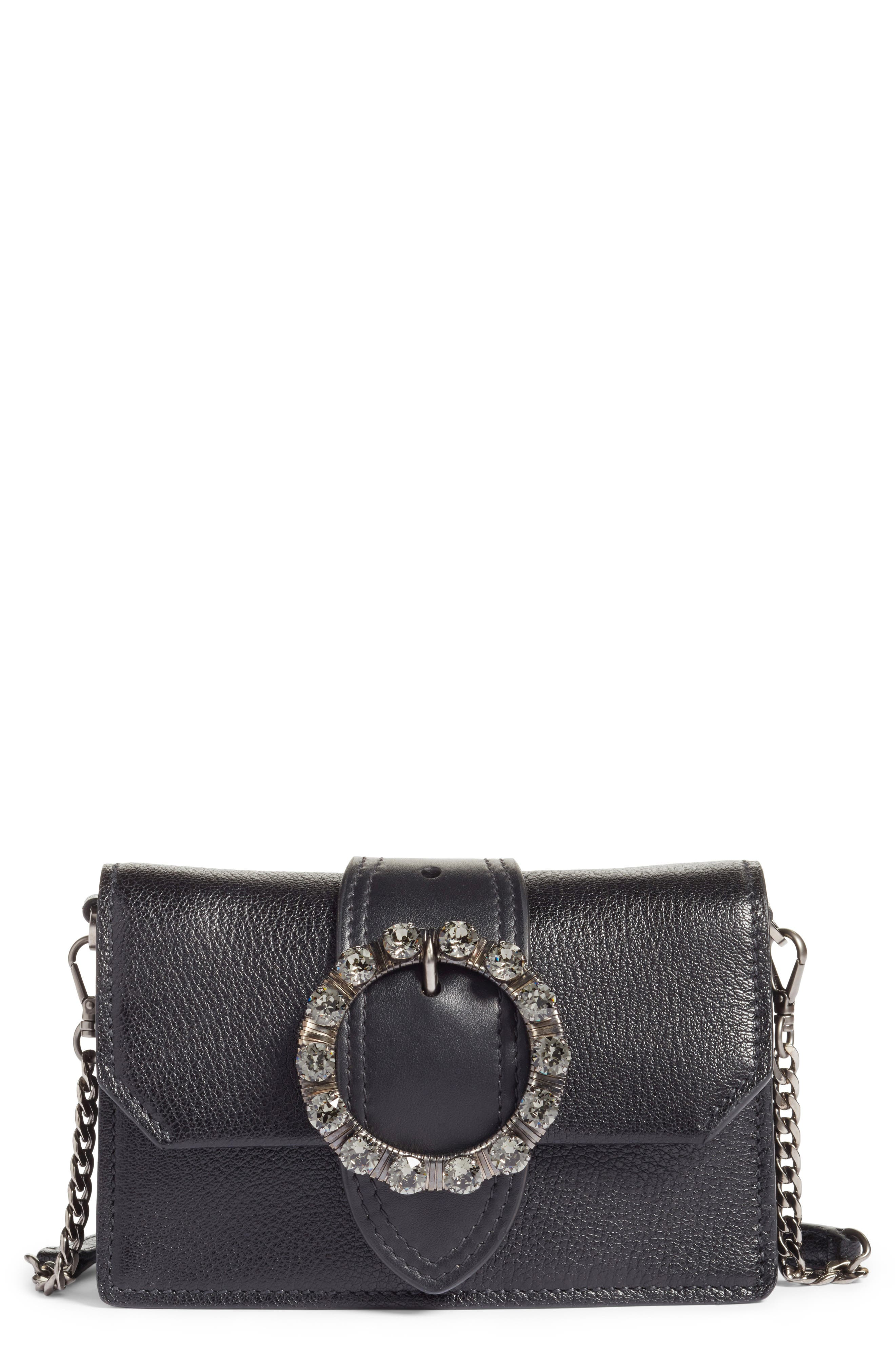 Lady Madras Crystal Embellished Leather Crossbody Bag,                             Main thumbnail 1, color,                             001