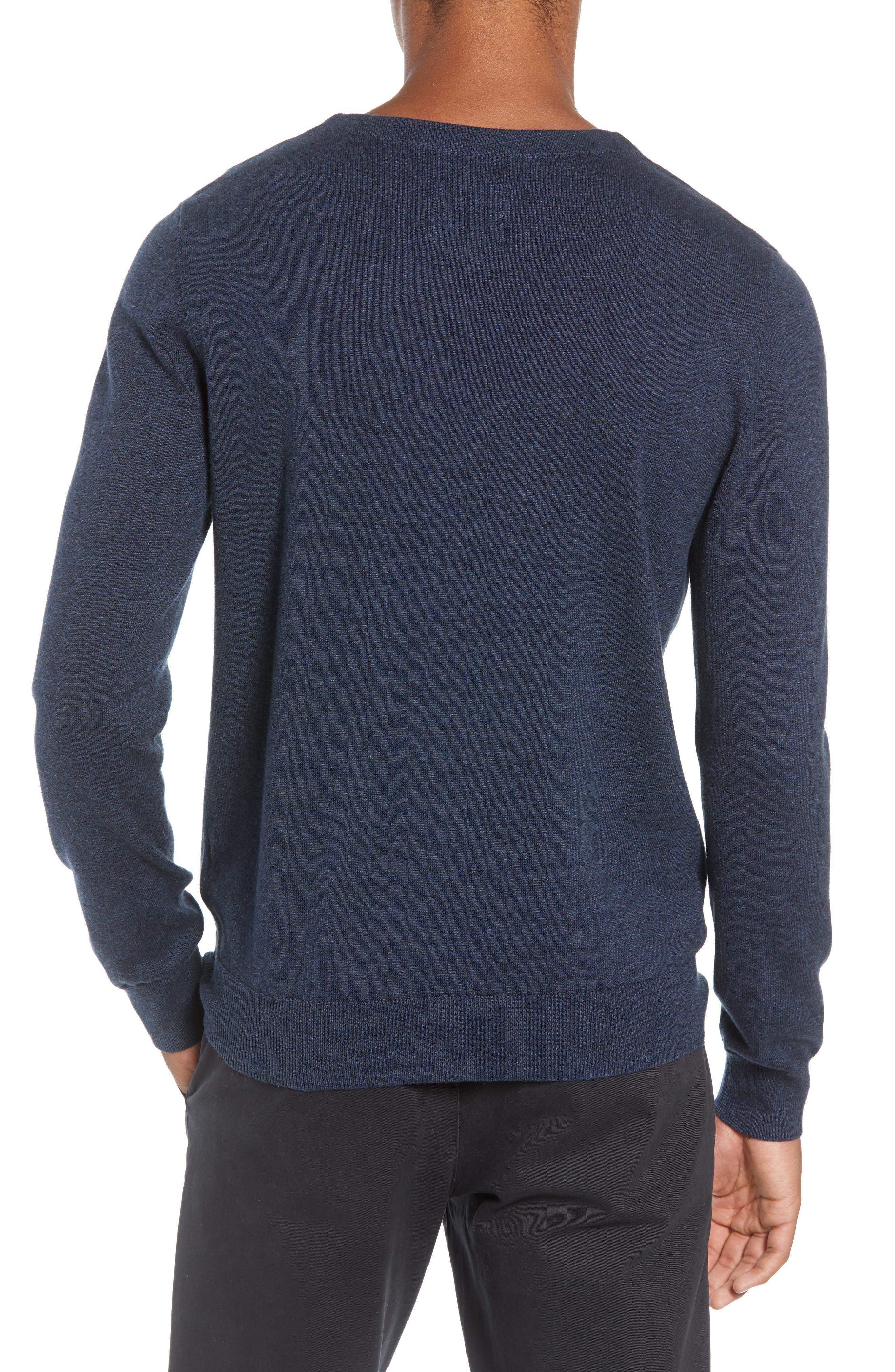 McGill Slim Fit Crewneck Sweater,                             Alternate thumbnail 2, color,                             HEATHER NAVY