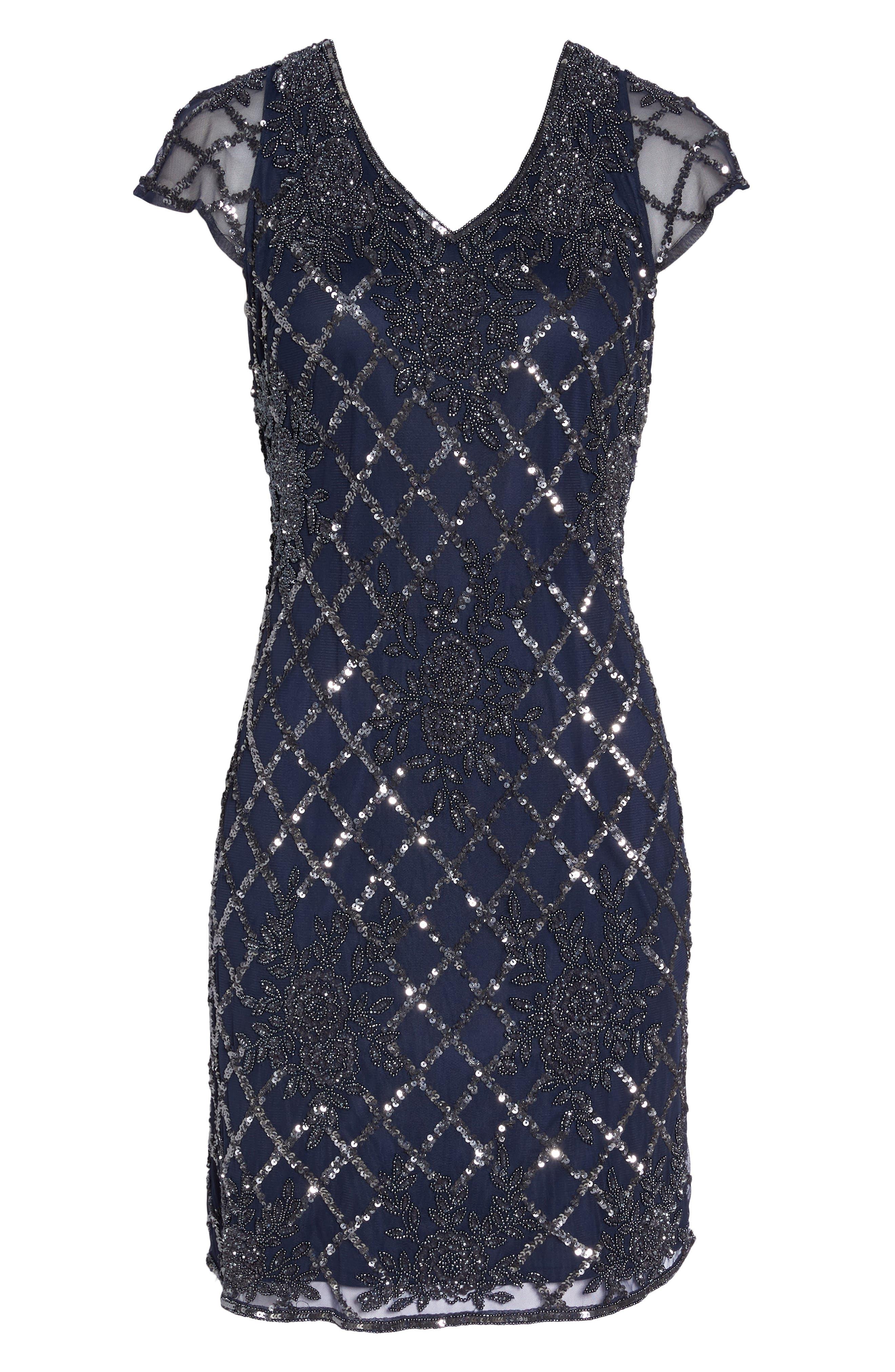 Beaded Sheath Dress,                             Alternate thumbnail 6, color,                             410