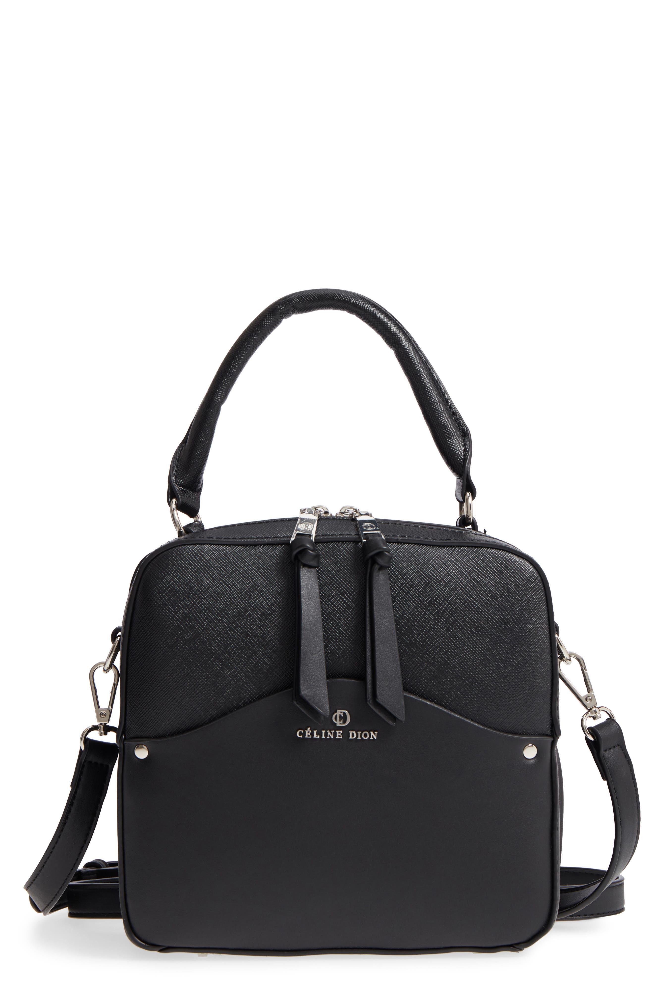 Céline Dion Motif Top Handle Leather Satchel,                         Main,                         color,