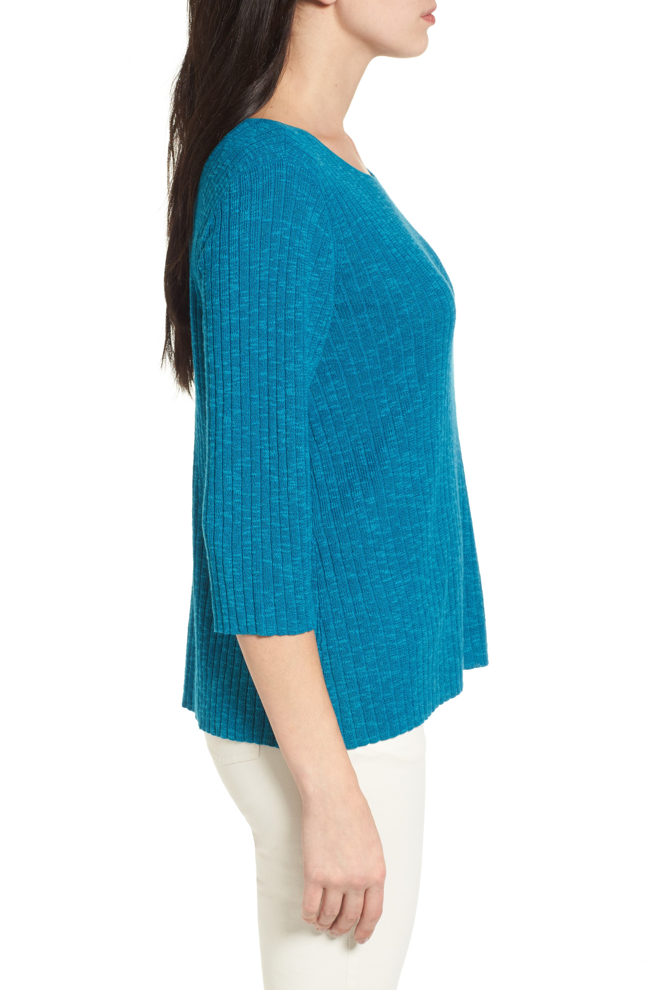 Ribbed Organic Linen & Cotton Sweater,                             Alternate thumbnail 6, color,