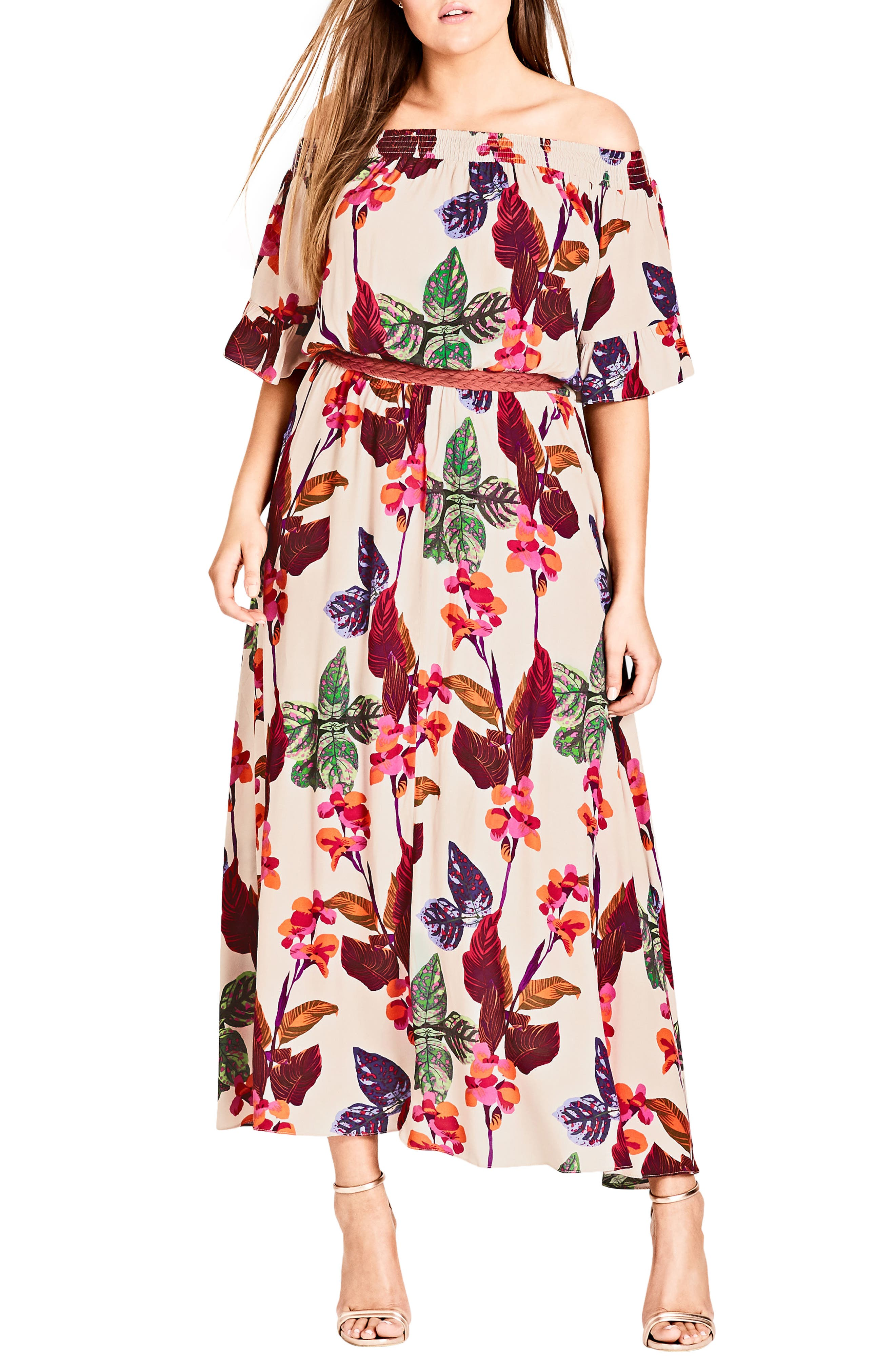 Tropical Print Maxi Dress,                             Main thumbnail 1, color,                             117