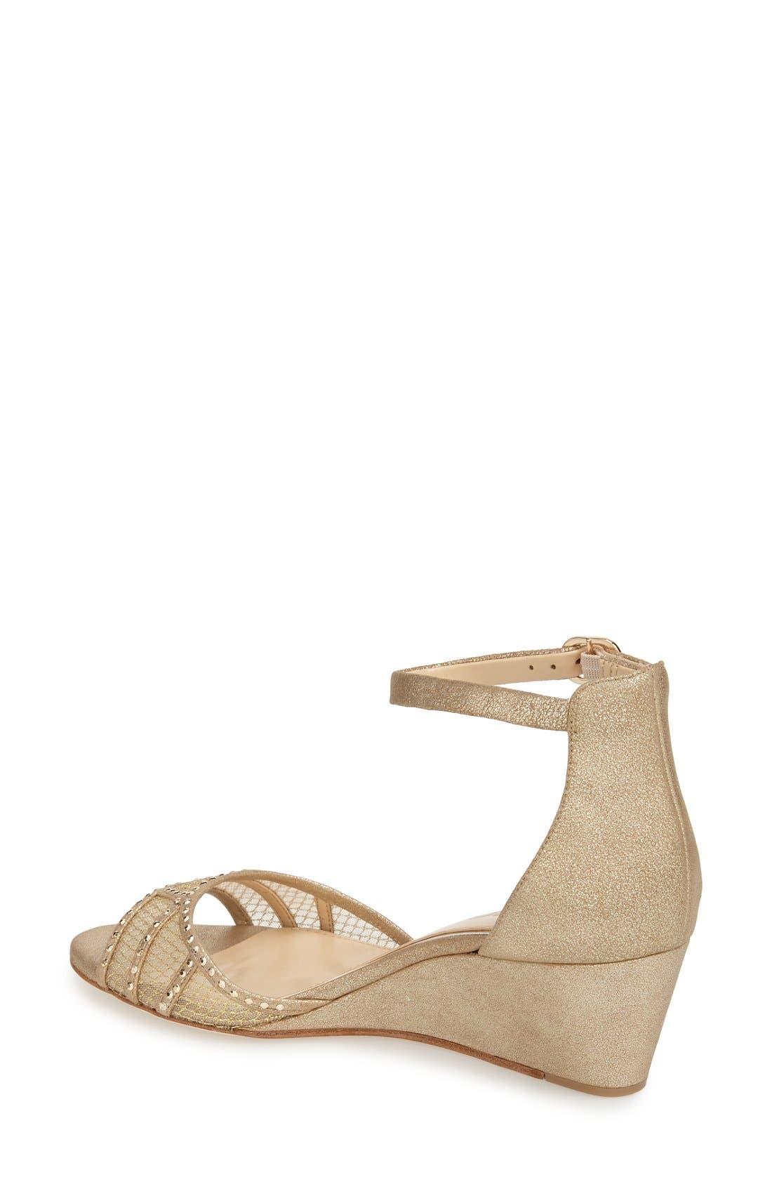 'Joan' Studded Wedge Sandal,                             Alternate thumbnail 4, color,