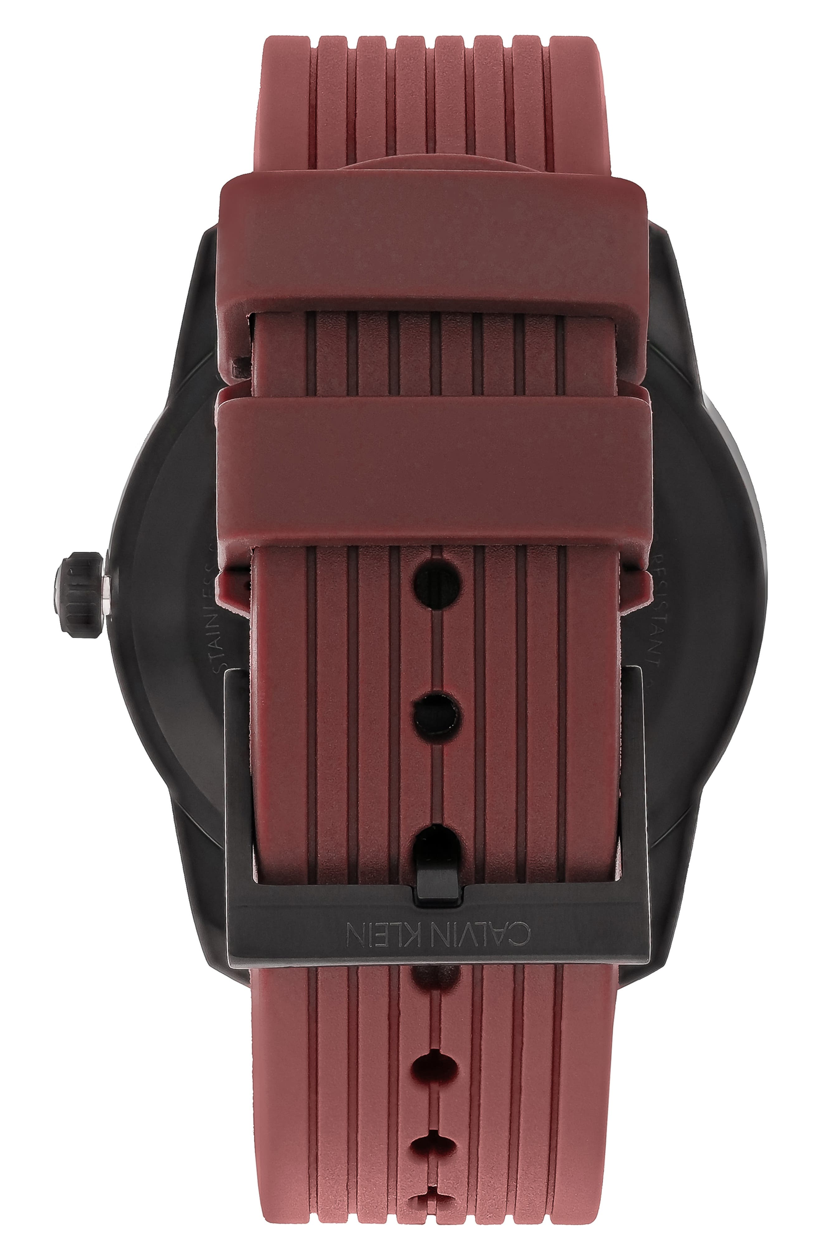 Evidence Silicone Band Watch, 42mm,                             Alternate thumbnail 2, color,                             RED/ BLACK