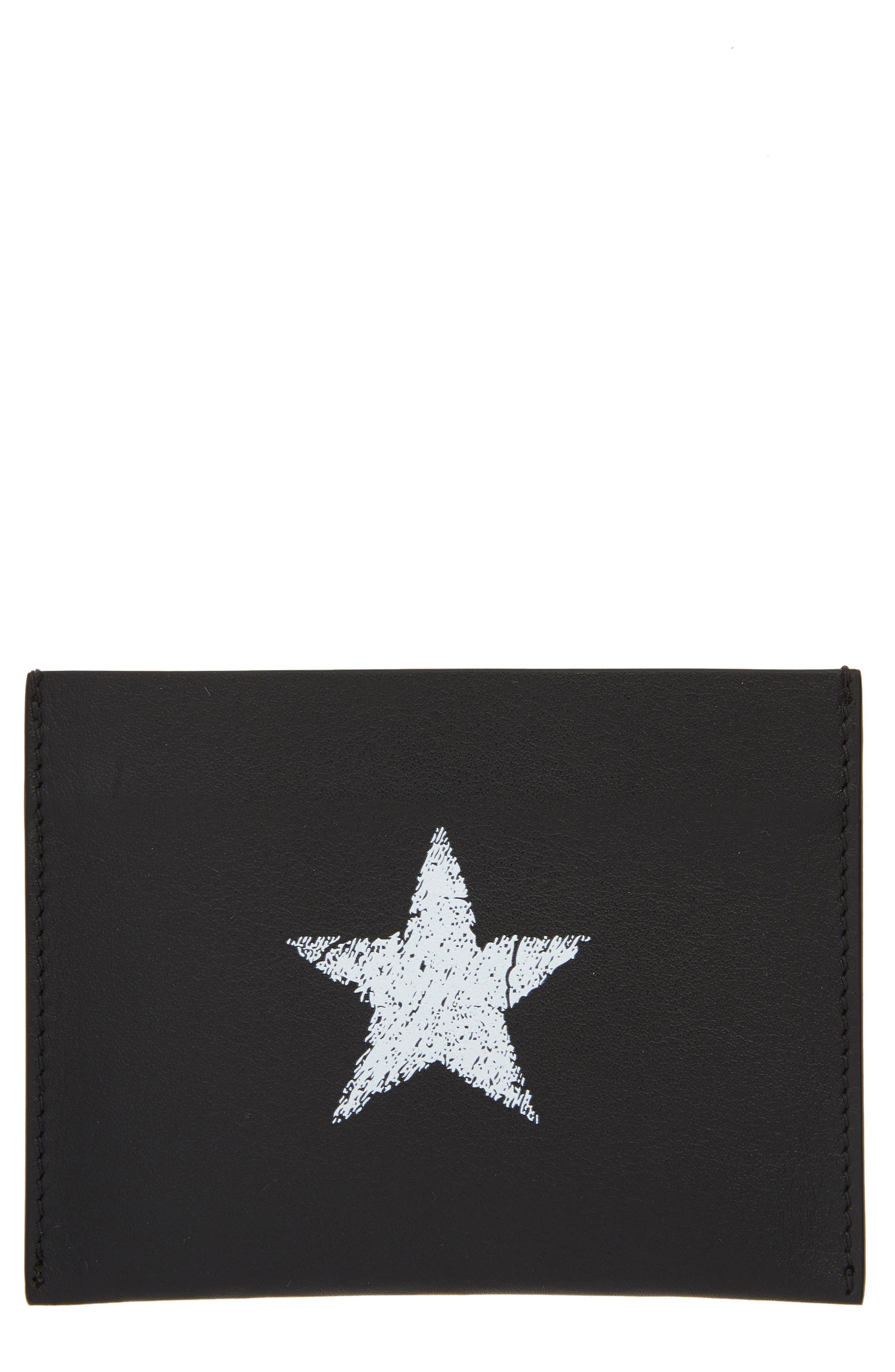Blurred Star Leather Card Holder,                             Main thumbnail 1, color,                             BLACK