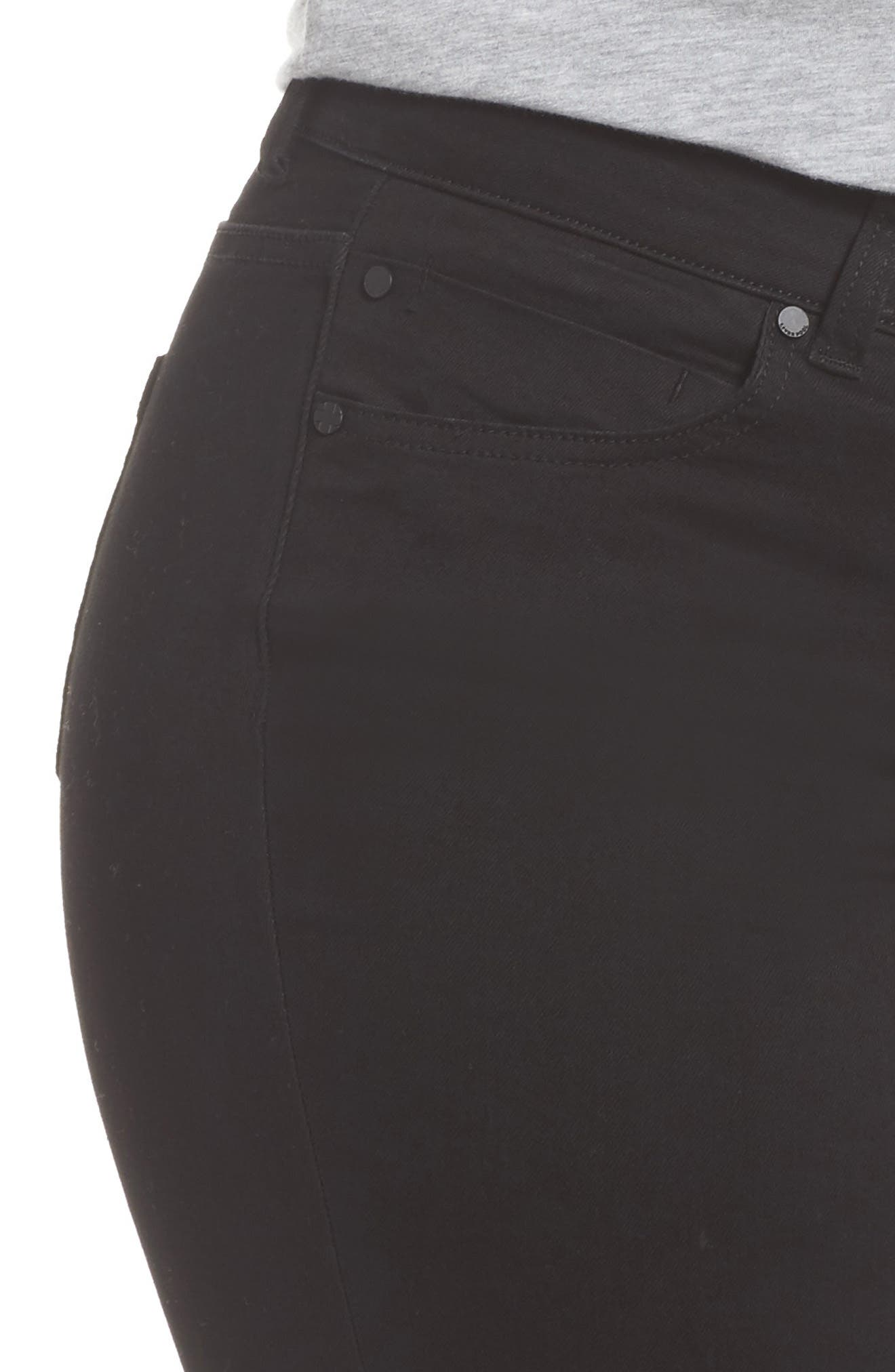 Sadie Stretch Straight Jeans,                             Alternate thumbnail 4, color,                             BLACK RINSE
