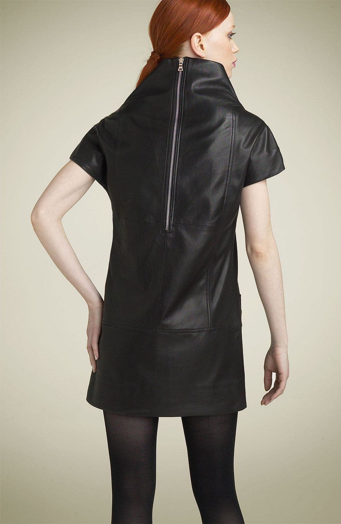 MARC BY MARC JACOBS,                             Leather Funnel Neck Minidress,                             Alternate thumbnail 2, color,                             001