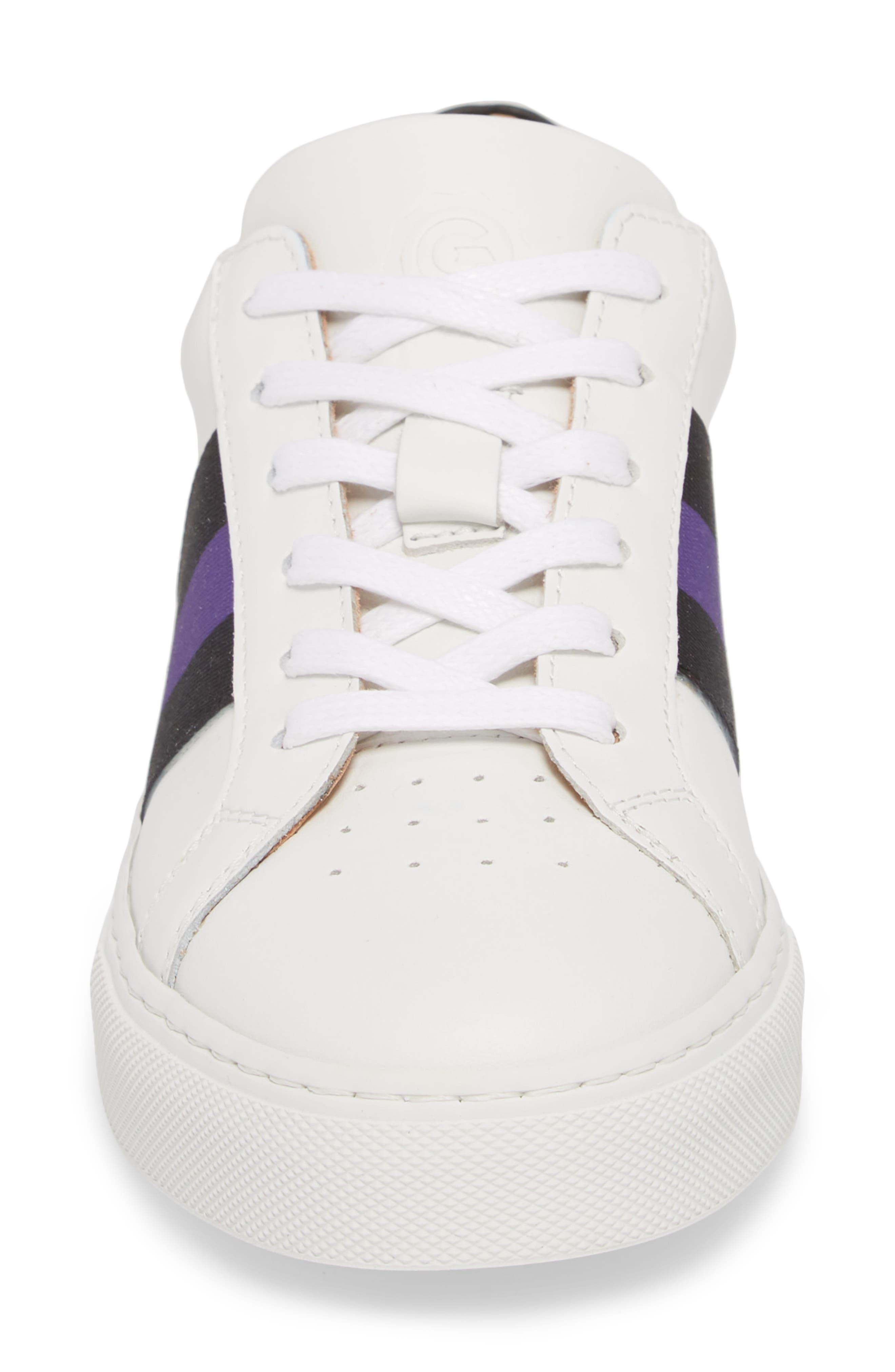 Royale Stripe Sneaker,                             Alternate thumbnail 4, color,                             WHITE/ BLACK/ VIOLET