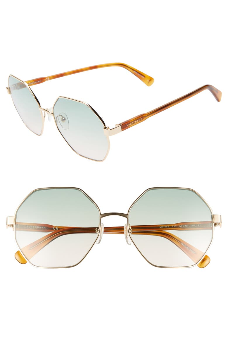 3bd6fcbdefd Longchamp Le Pliage 57Mm Gradient Octagonal Sunglasses - Light Gold In Deep  Gold