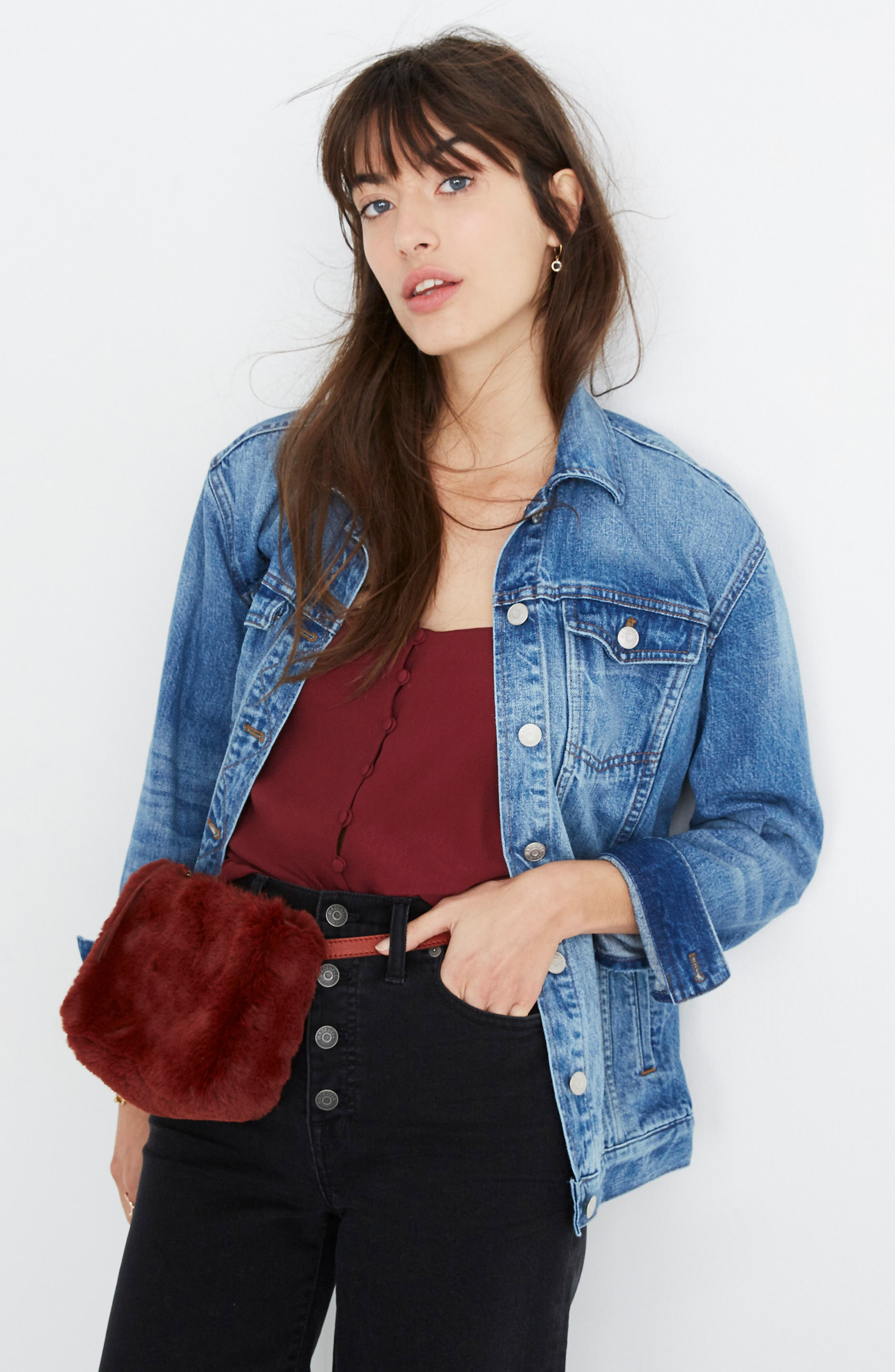 MADEWELL,                             The Simple Pouch Faux Fur Belt Bag,                             Alternate thumbnail 3, color,                             600