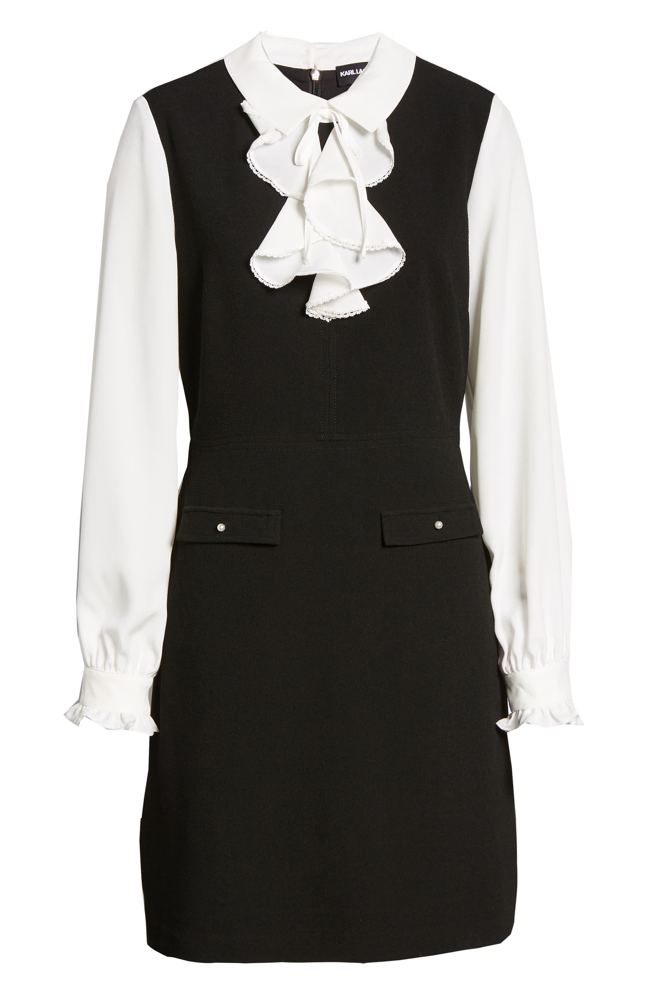 Ruffle Sweater Dress,                             Alternate thumbnail 7, color,                             BLACK/ WHITE